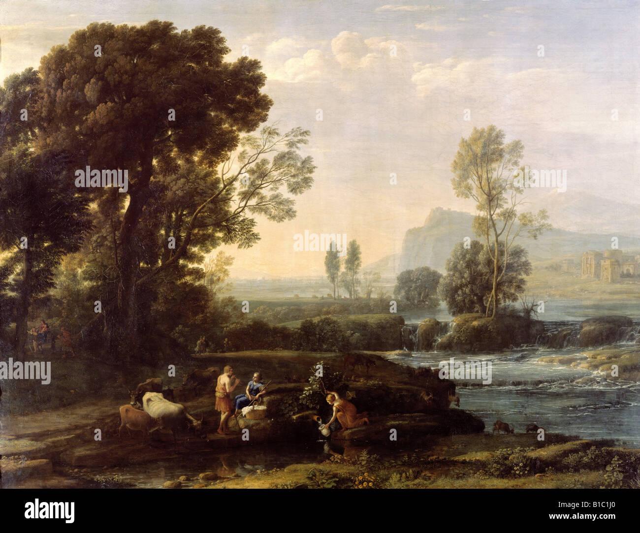 """Beaux-arts, Lorrain, Claude (1600 - 23.11.1682), peinture, 'Paysage avec reste en fuite en Egypte"""", 1647, Photo Stock"""