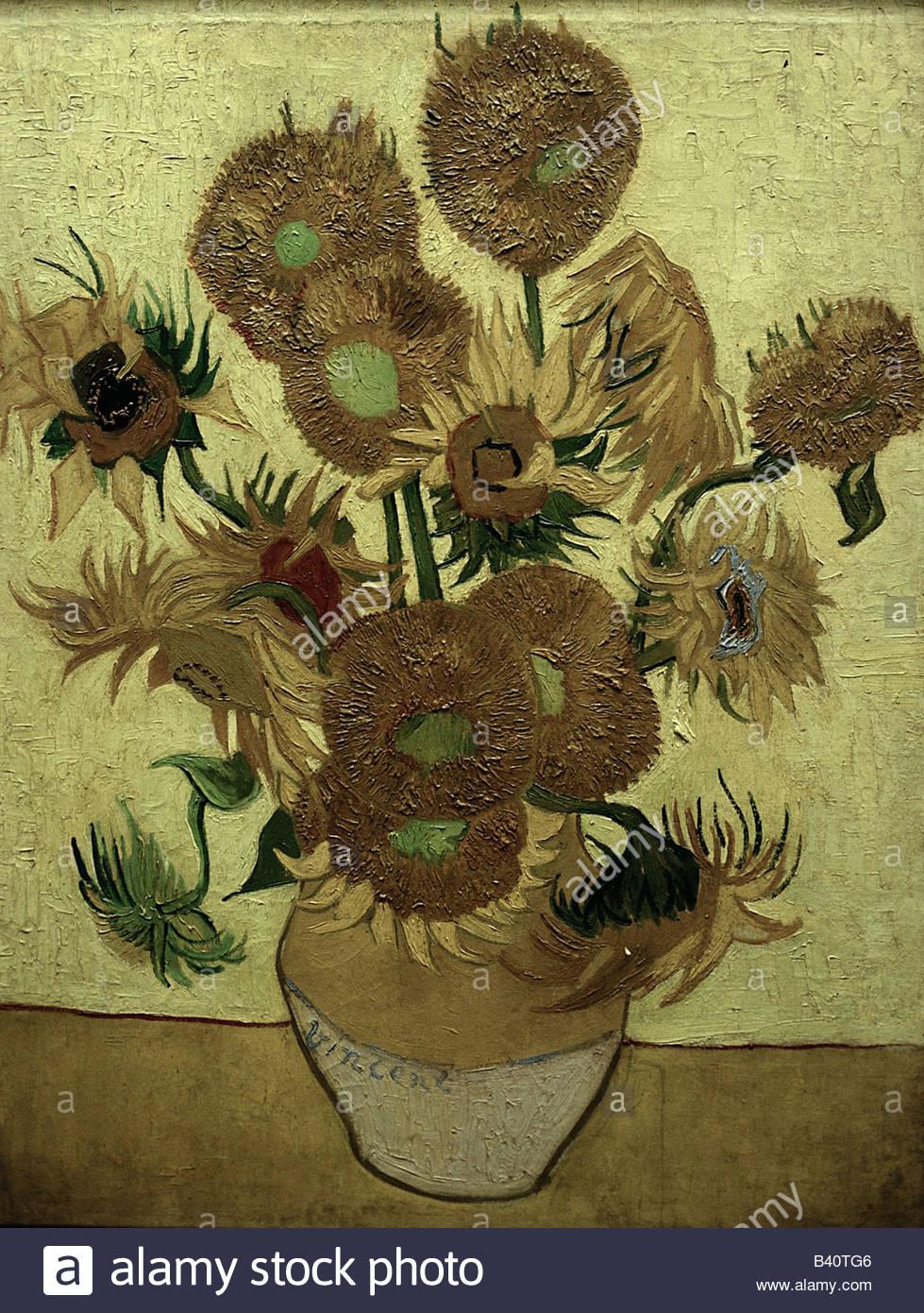 """Beaux-arts, Vincent van Gogh (1853 - 1890), peinture, """"Quatorze tournesols dans un vase"""", 1889, huile Photo Stock"""