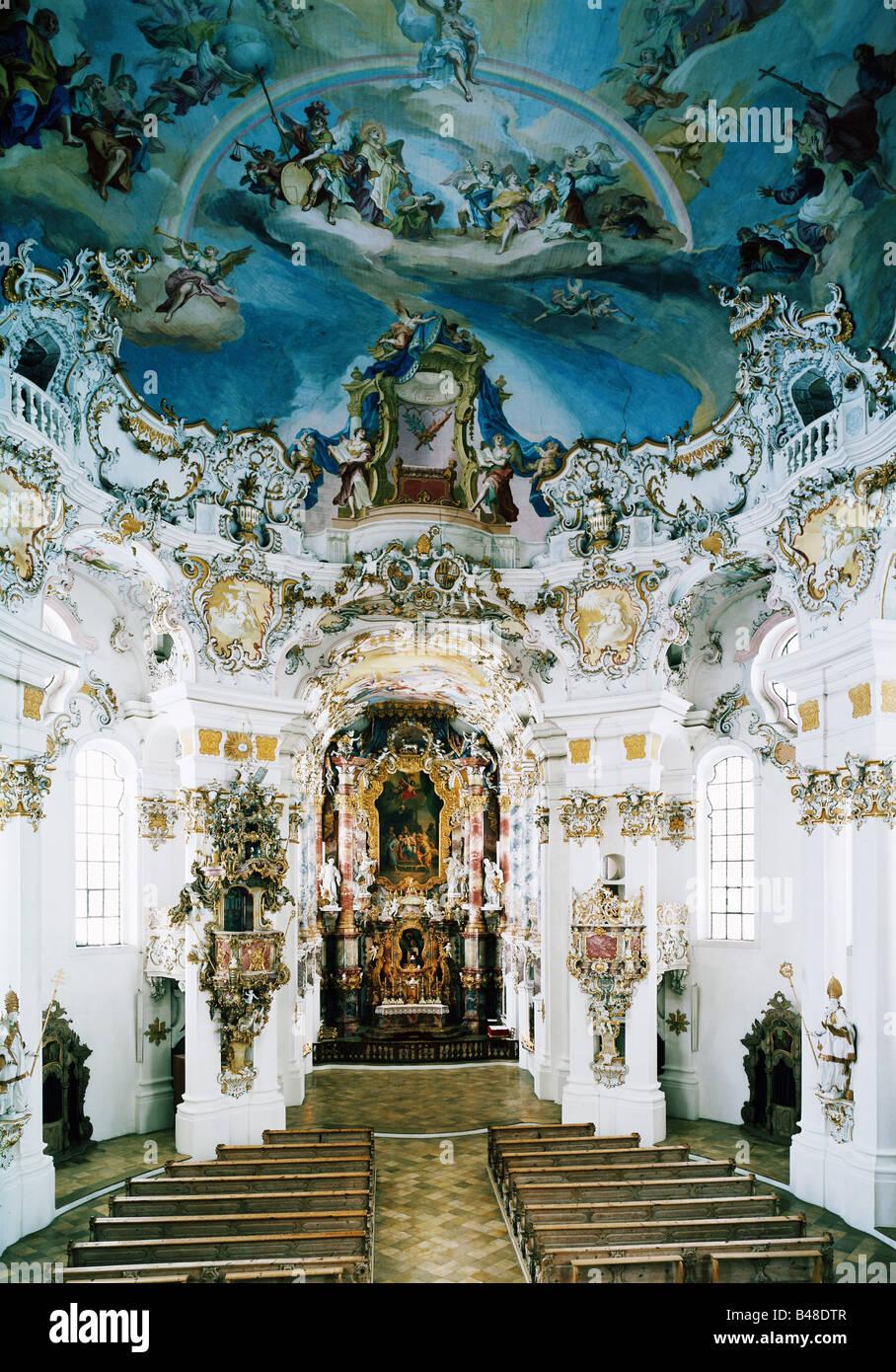 L'architecture, les églises et les couvents, en Allemagne, en Bavière, église de pèlerinage Photo Stock