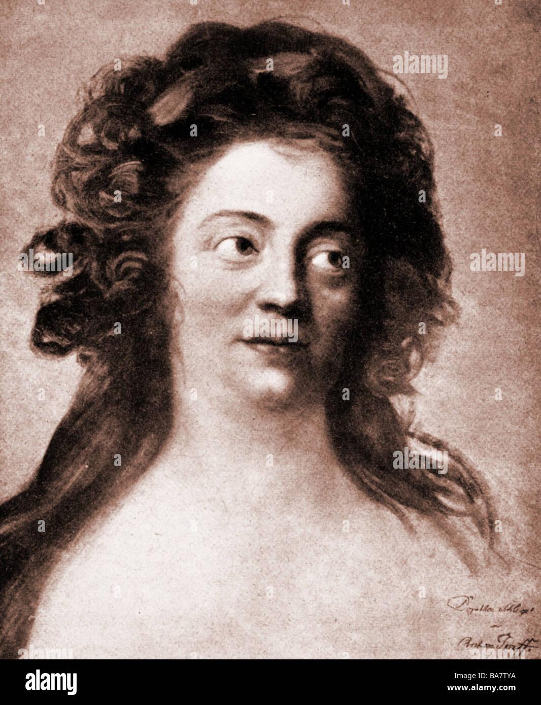 Schlegel,, 24.10.1763 - 3.8.1839, l'auteur allemand / écrivain, portrait, après peinture par Anton Photo Stock