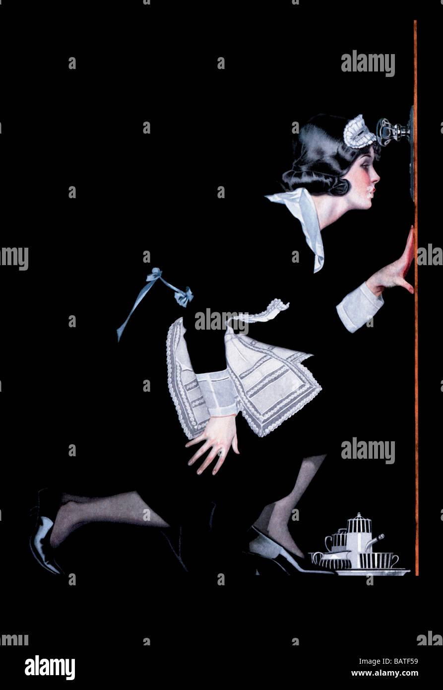 Femme de ménage à Spy Photo Stock