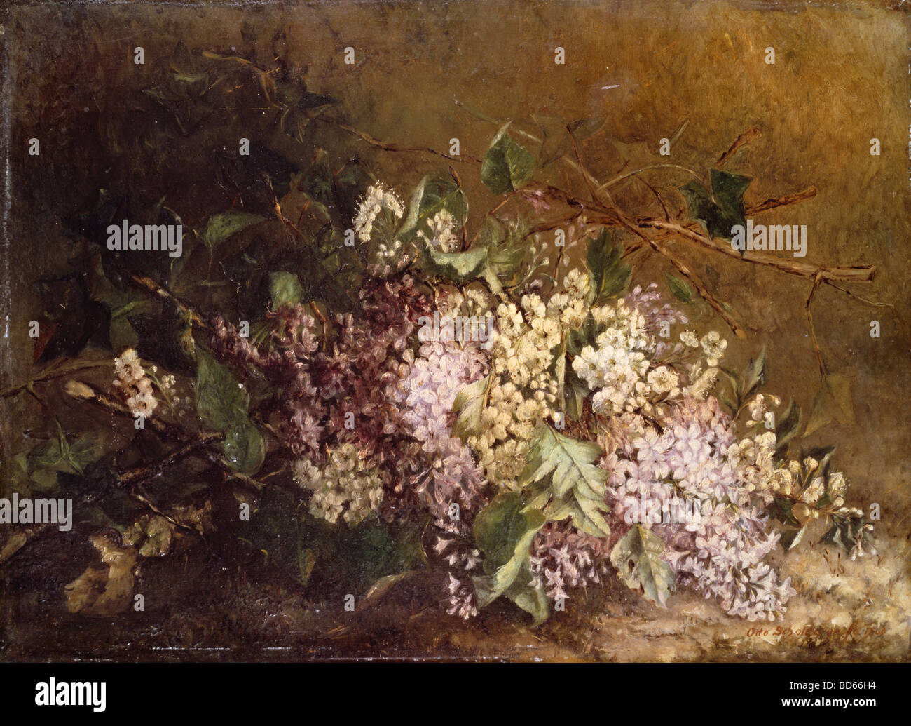 Beaux-arts, Henri Evenepoel, Otto (1834 - 1902), peinture, 'tillife avec Lilac' ('Fliederstilleben'), Photo Stock