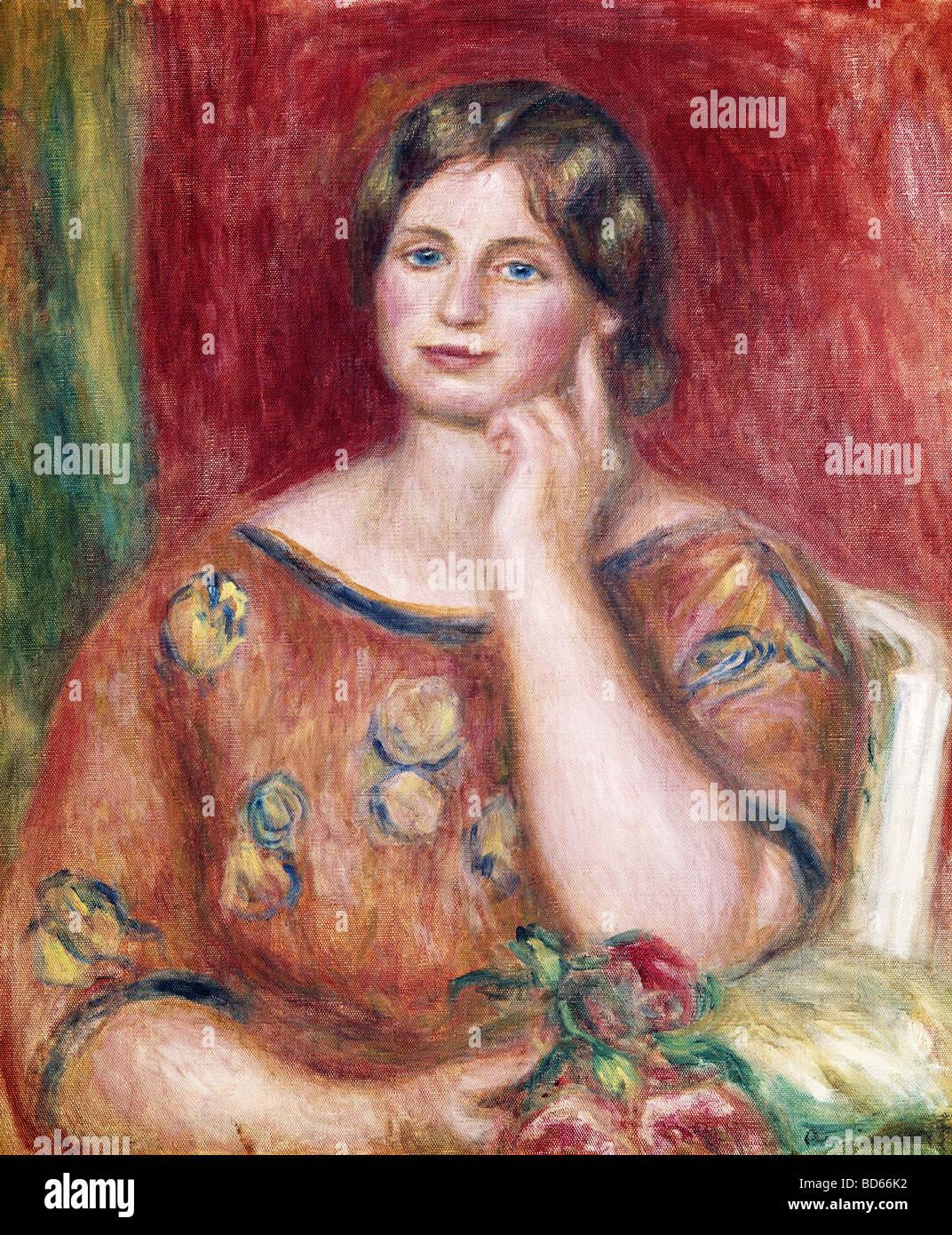 """Beaux-arts, Renoir, Auguste (1841 - 1919), peinture, """"Portrait de madame Osthaus', 1913, Musée Folkwang, Photo Stock"""