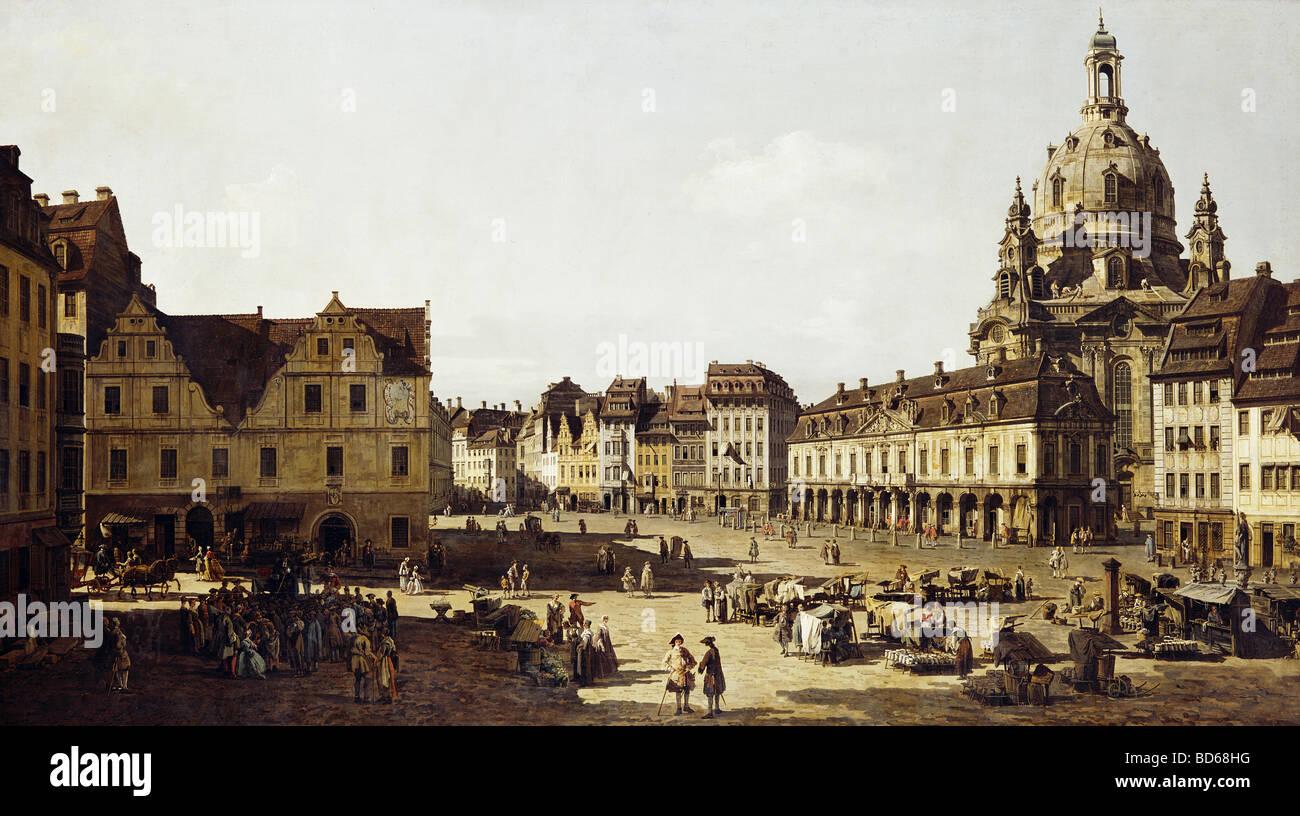 Beaux-arts, Bellotto, Bernardo, appelé Canaletto (20.5.1722 - 17.11.1780), peinture 'Der Neumarkt à Photo Stock