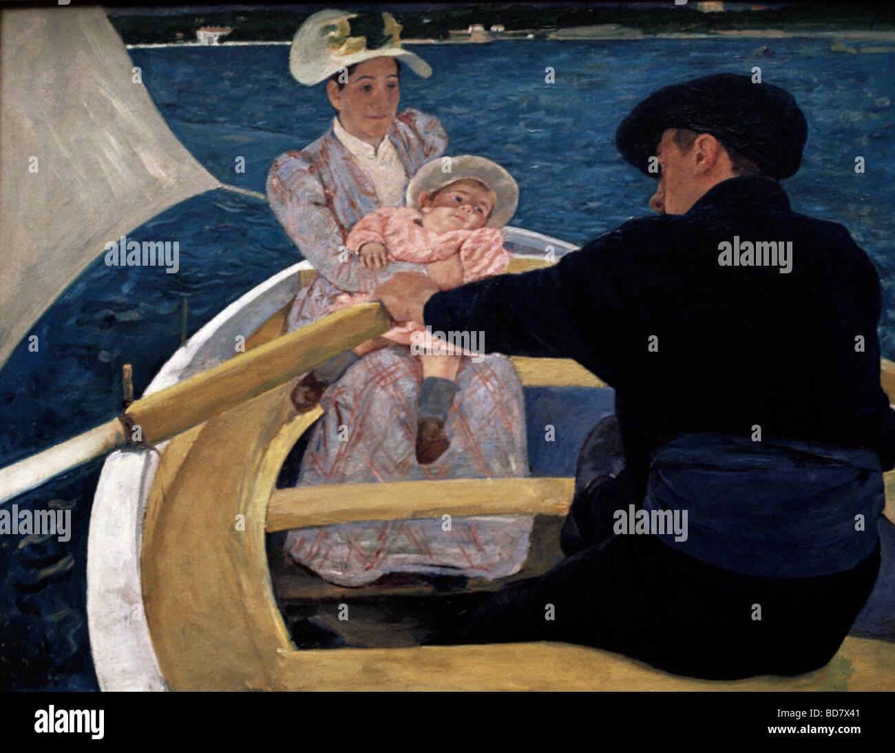 """Beaux-arts, Mary Cassatt, (1844 - 1926), peinture, """"voyage en bateau"""", de l'huile de toile, 90 x 188 Photo Stock"""