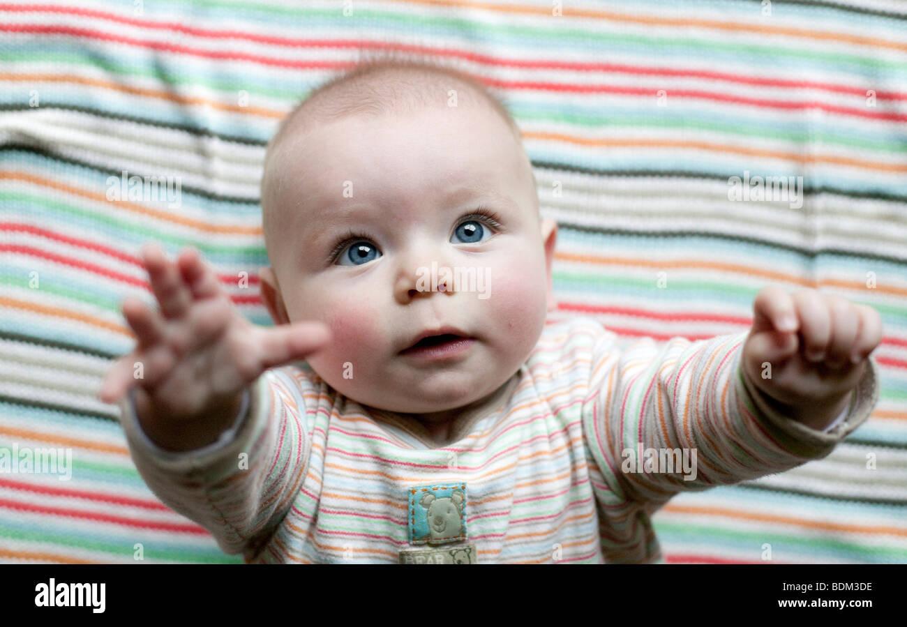 Un petit garçon lève les bras à sa mère d'être ramassé. Photo Stock