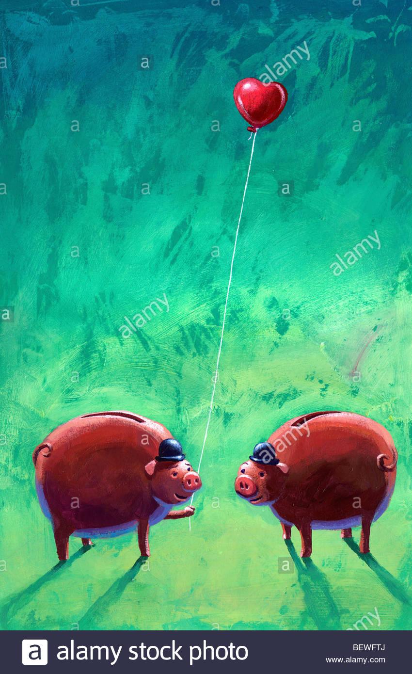 Les porcs d'affaires dans l'amour Photo Stock
