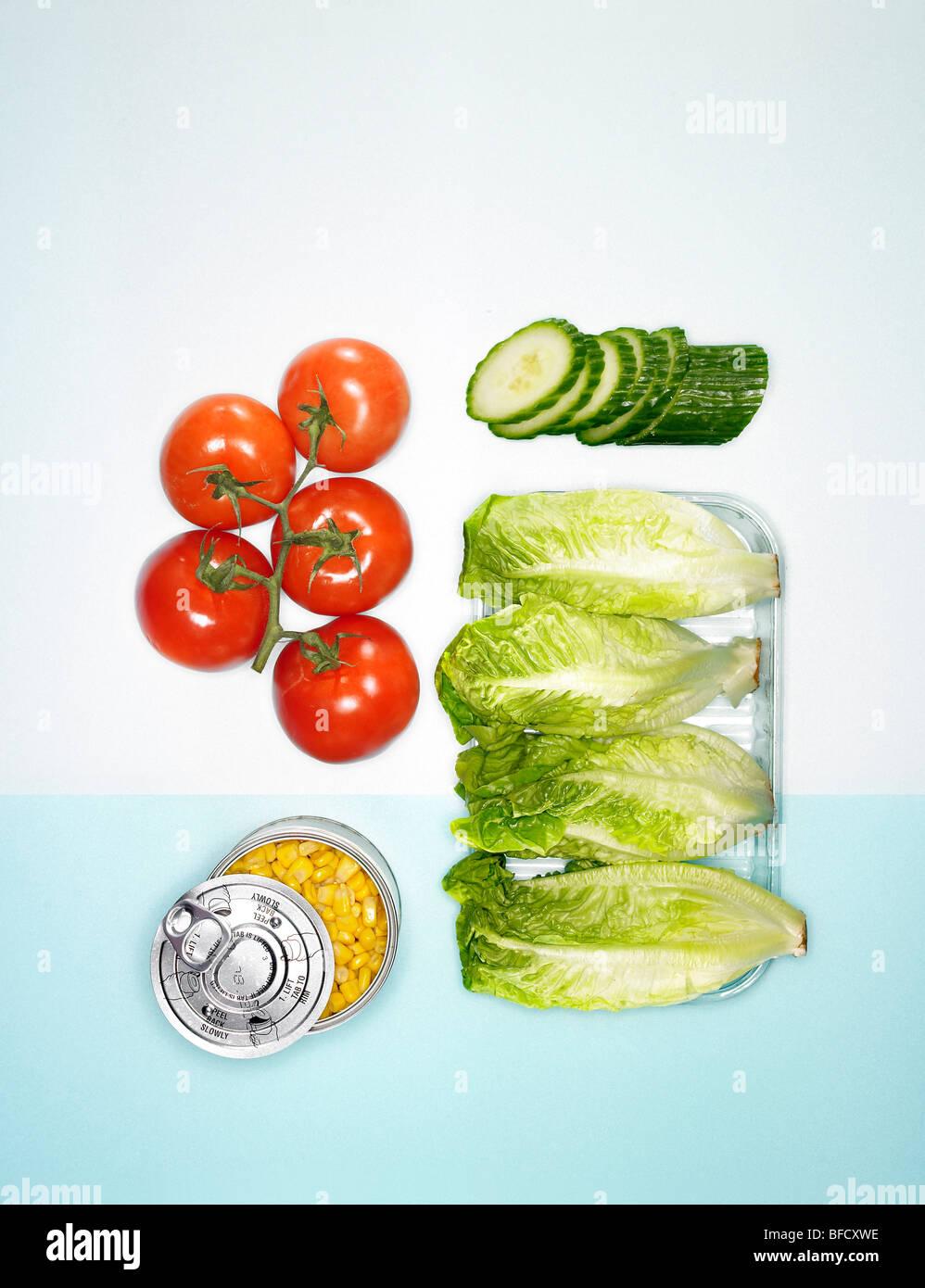 Les plombages, les ingrédients de la salade Sandwich Photo Stock