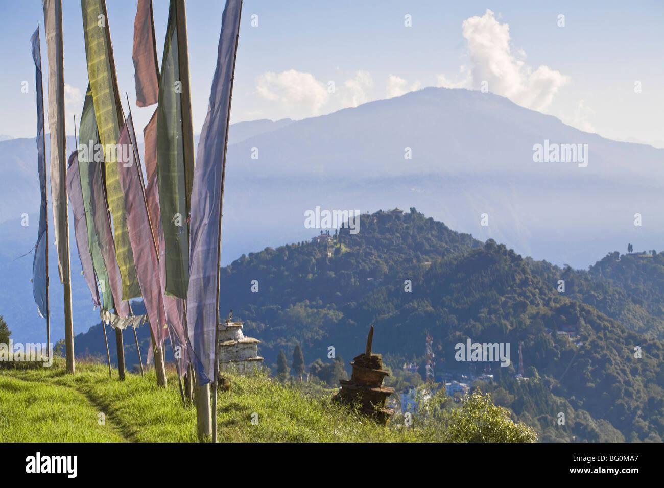 Sangachoeling Gompa, le deuxième plus ancien Gompa au Sikkim, Pelling, Sikkim, Inde, Asie Photo Stock