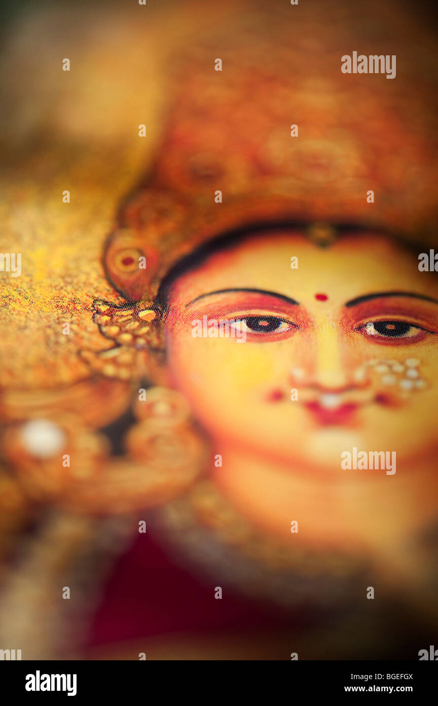 Lakshmi déesse hindoue de l'Inde sacrée. Photo Stock