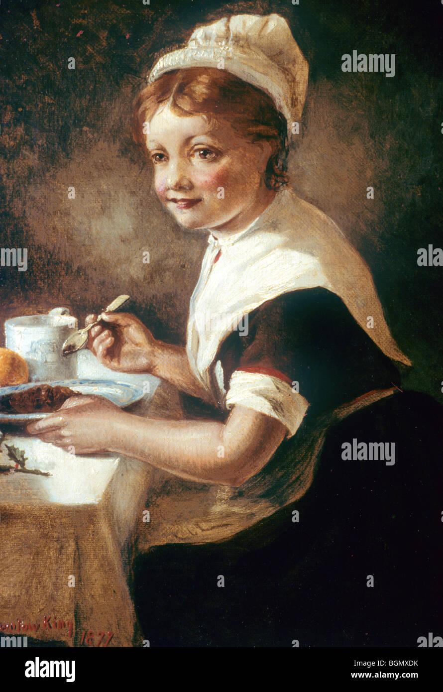 Fondation Thomas Coram, enfant trouvé en uniforme au dîner de Noël portrait peinture victorienne Photo Stock