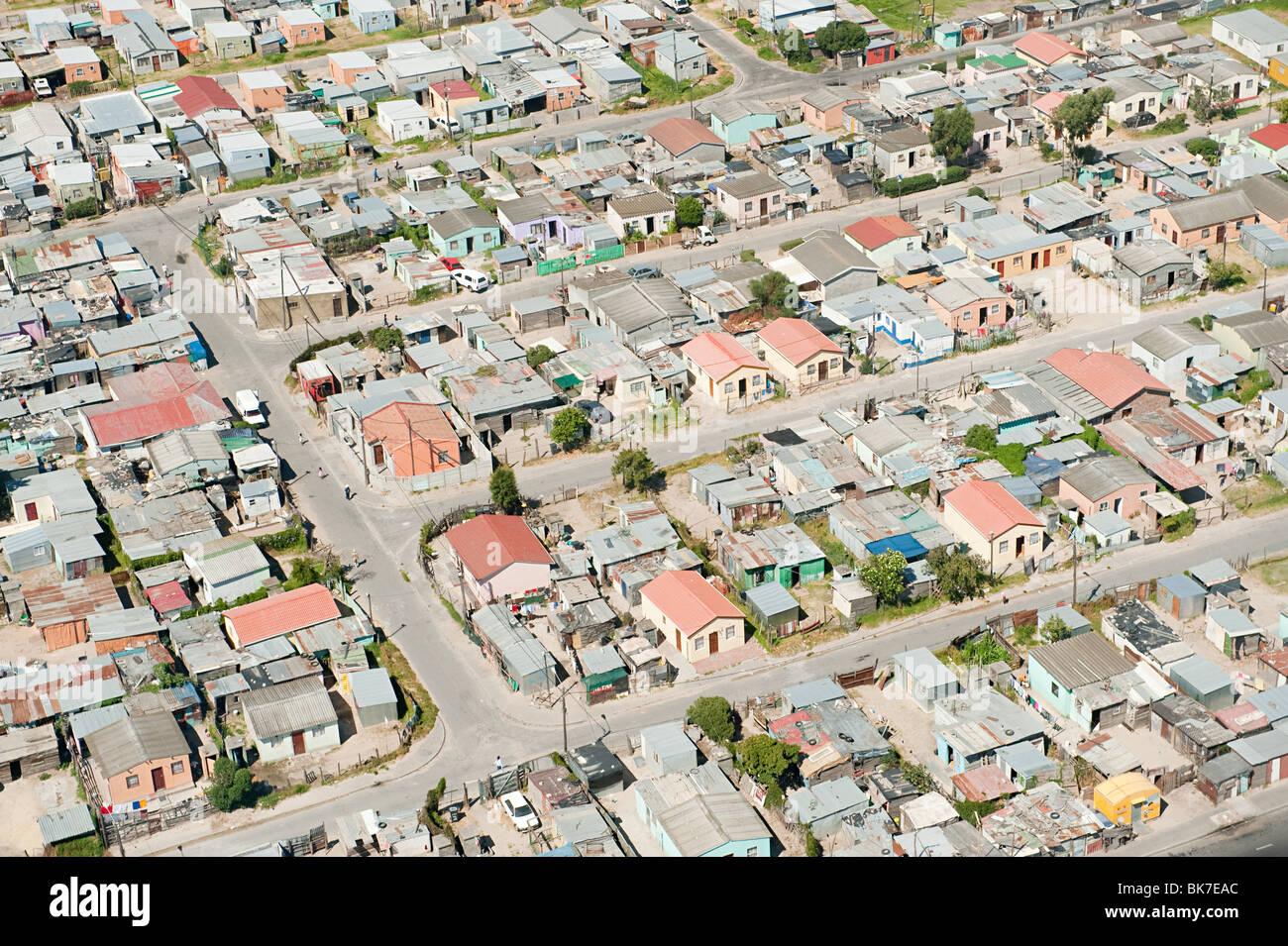 Vue aérienne de Cape town bidonville Photo Stock