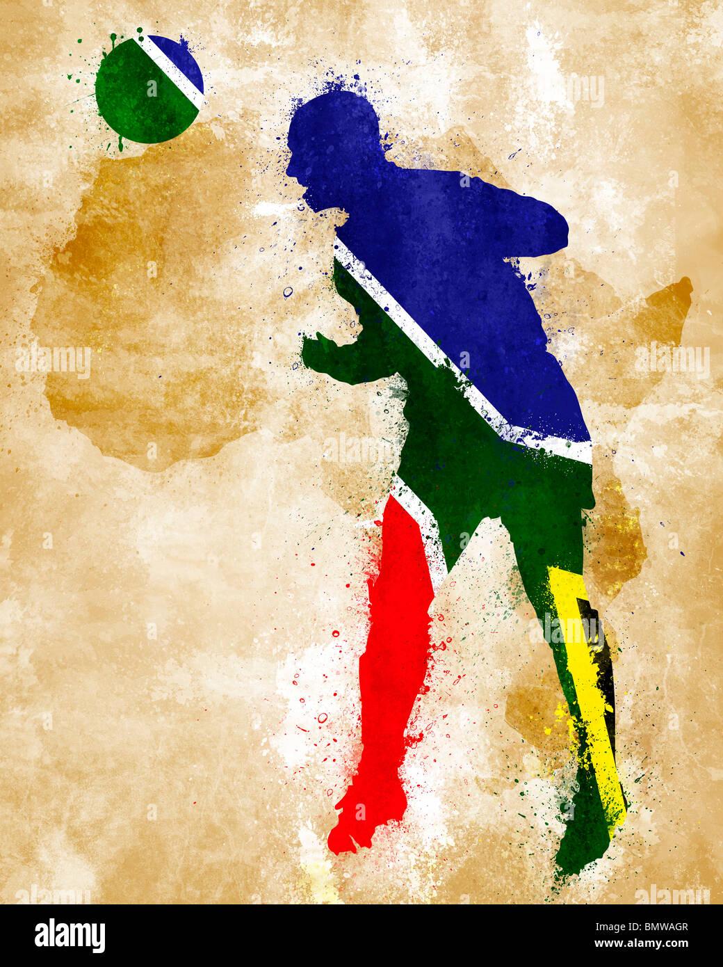 Un joueur de soccer avec drapeau sud-africain peint Photo Stock