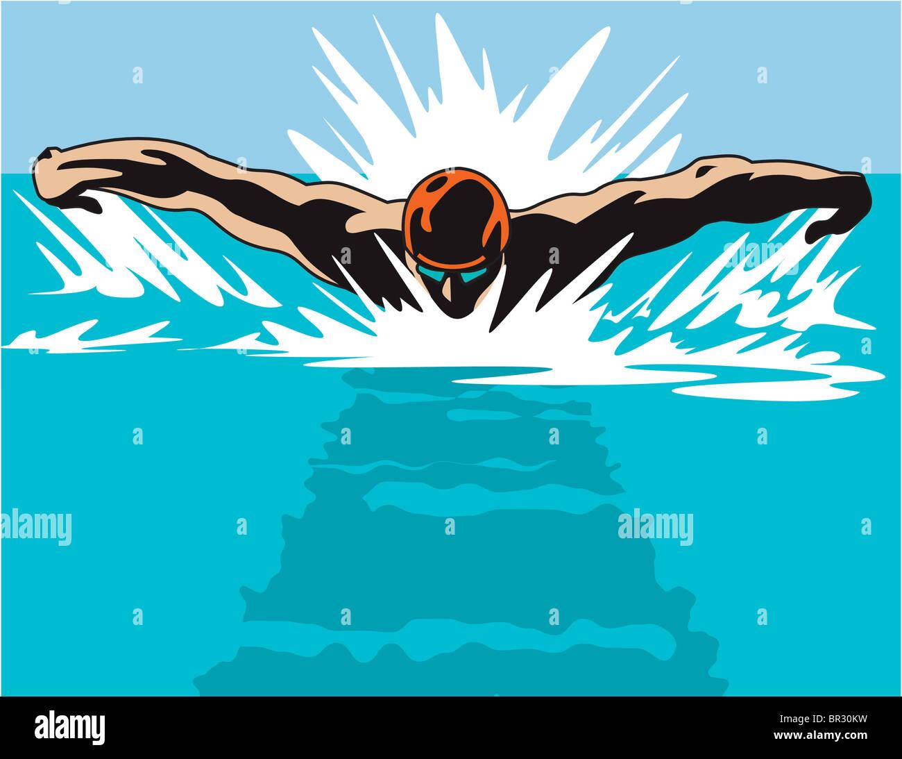 Une illustration d'un nageur d'un point de vue sur la tête Photo Stock