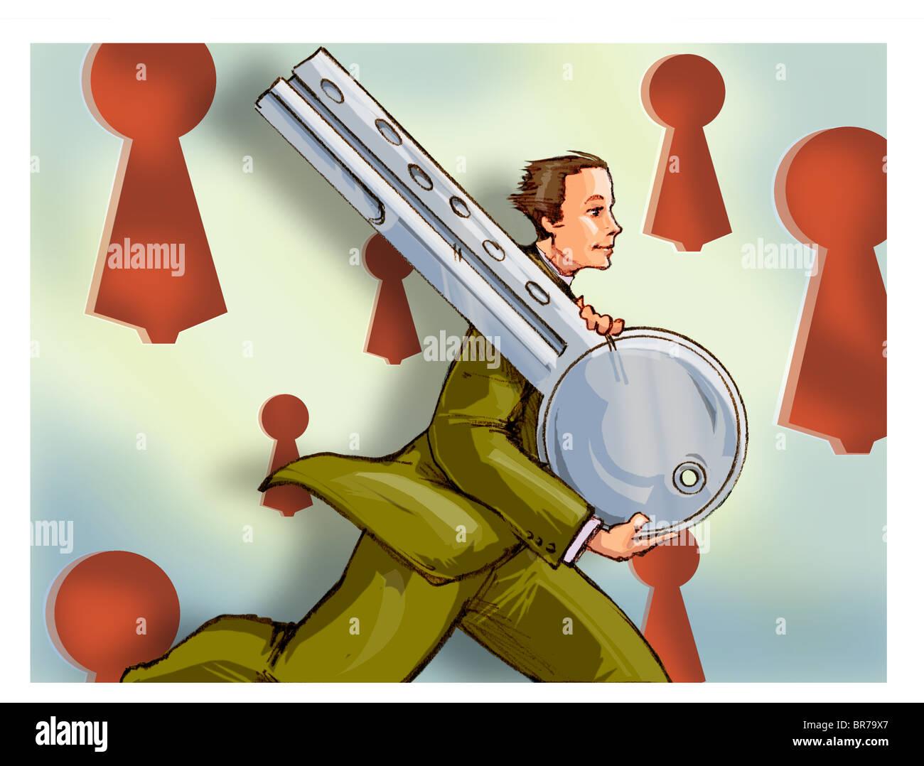 Un homme d'exécution avec une clé énorme Photo Stock