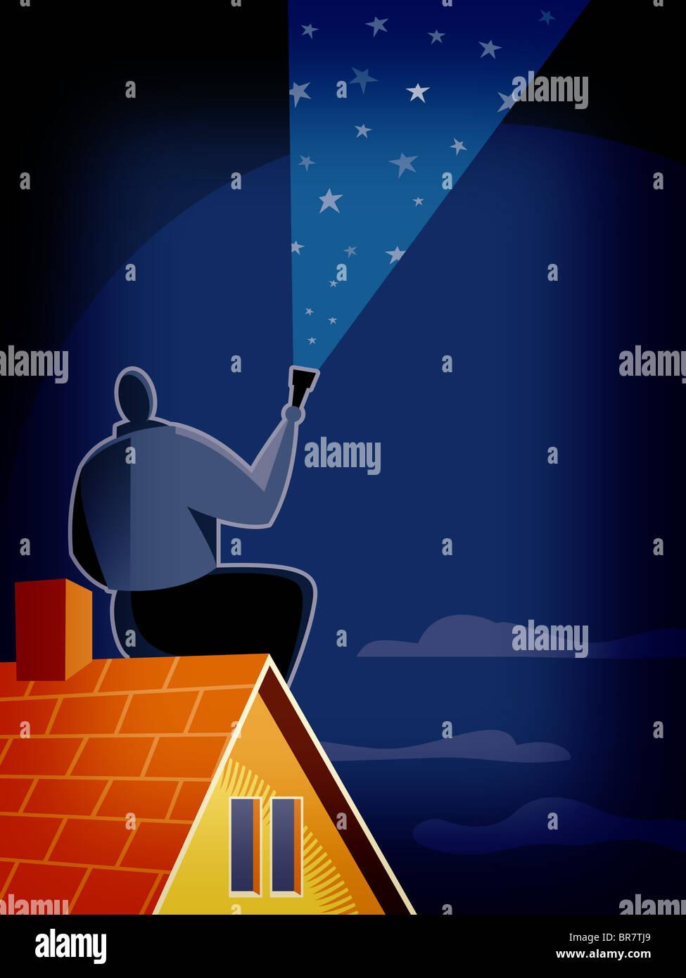 Un homme regardant le ciel étoilé Photo Stock