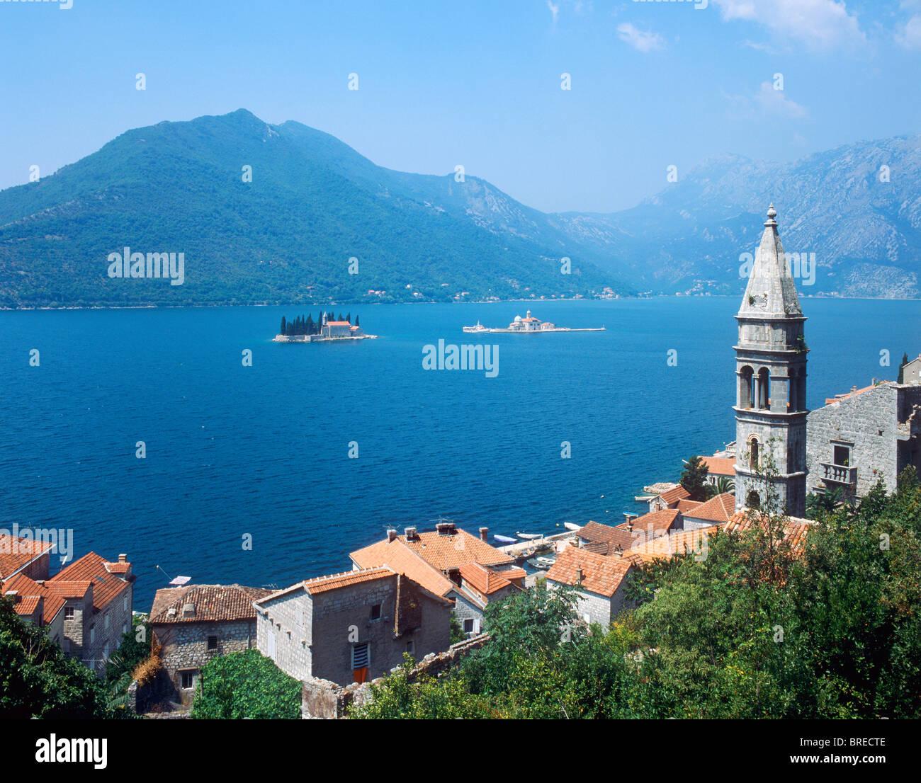 Perast, baie de Kotor, Monténégro Photo Stock