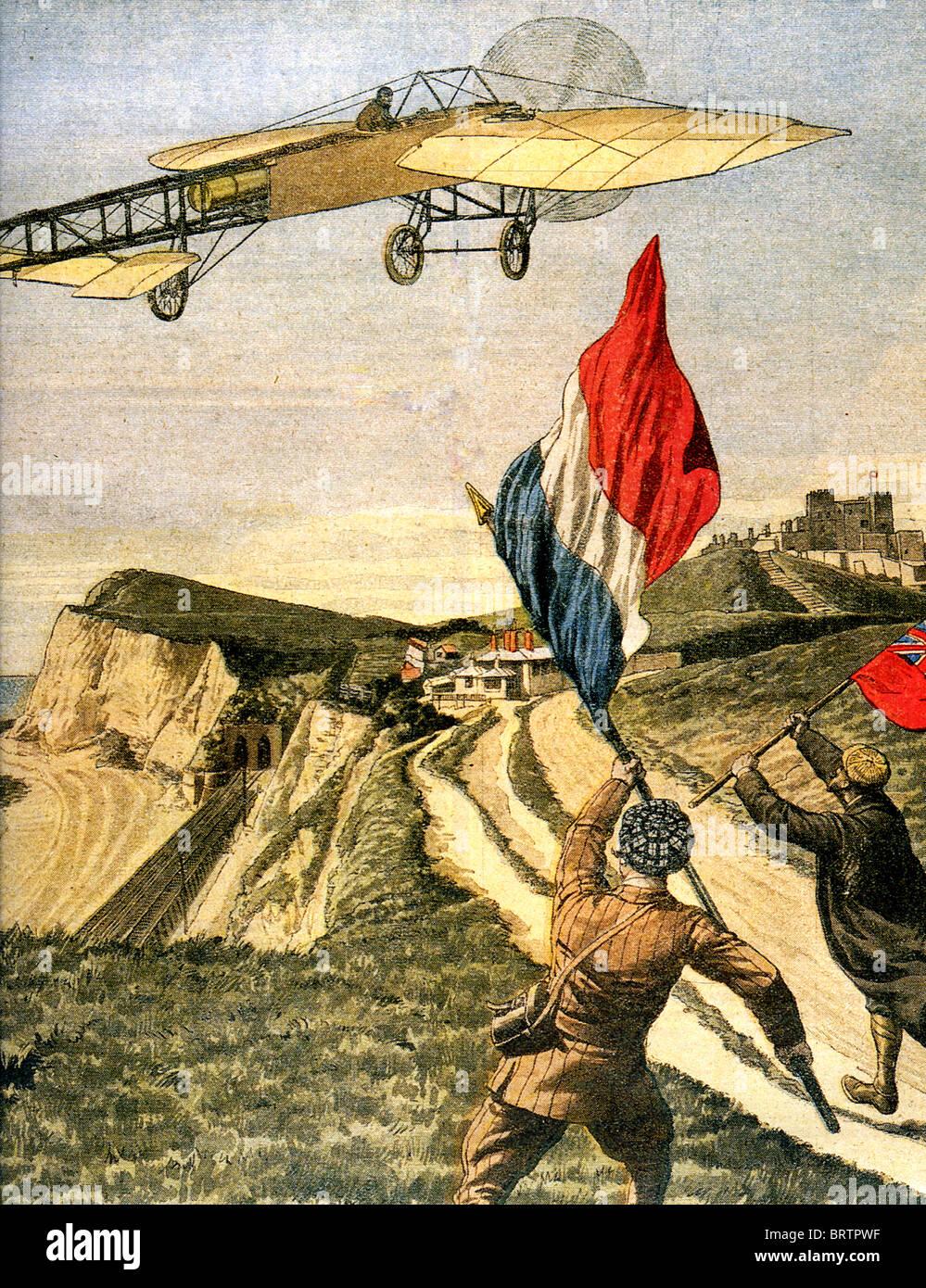 LOUIS BLÉRIOT (1872-1936) vole son XI à travers les falaises de Douvres après le premier vol cross Photo Stock