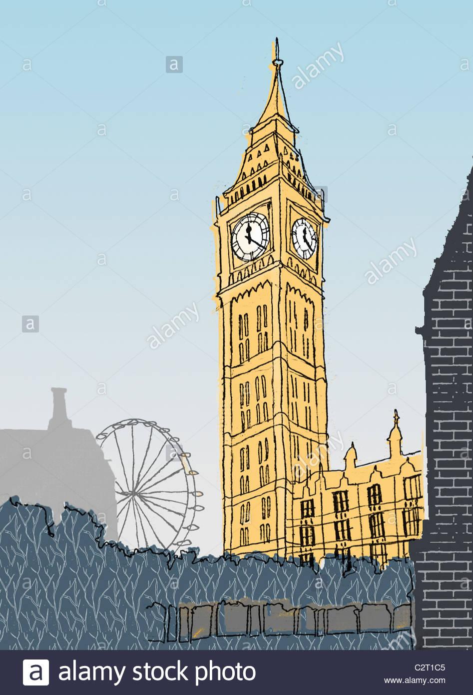 Big Ben, London Eye et les chambres du Parlement Photo Stock