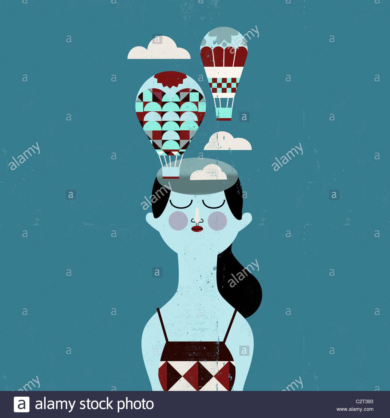Femme avec des ballons à air chaud venant de la tête Photo Stock