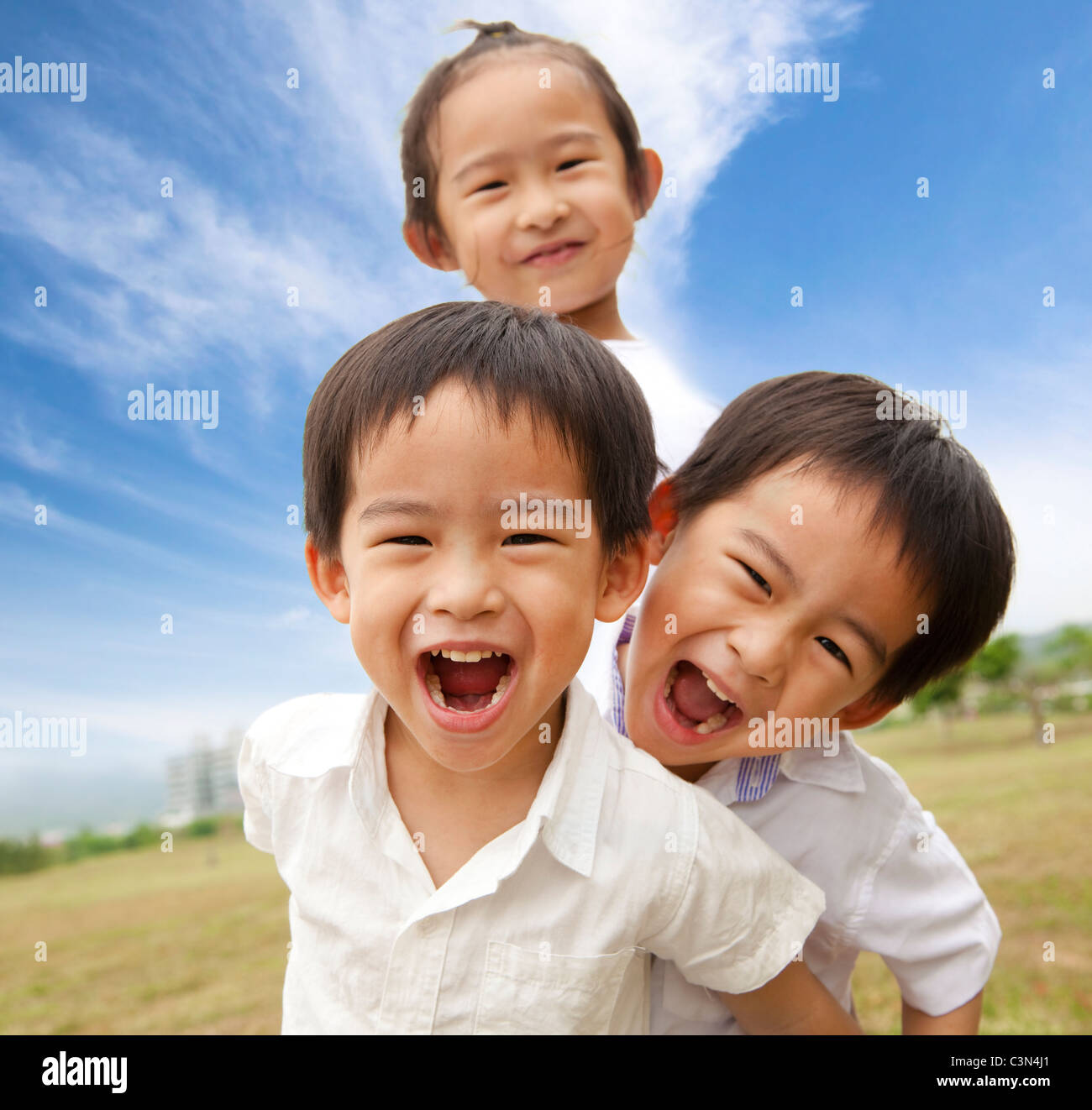 Portrait of happy kids outdoor Photo Stock