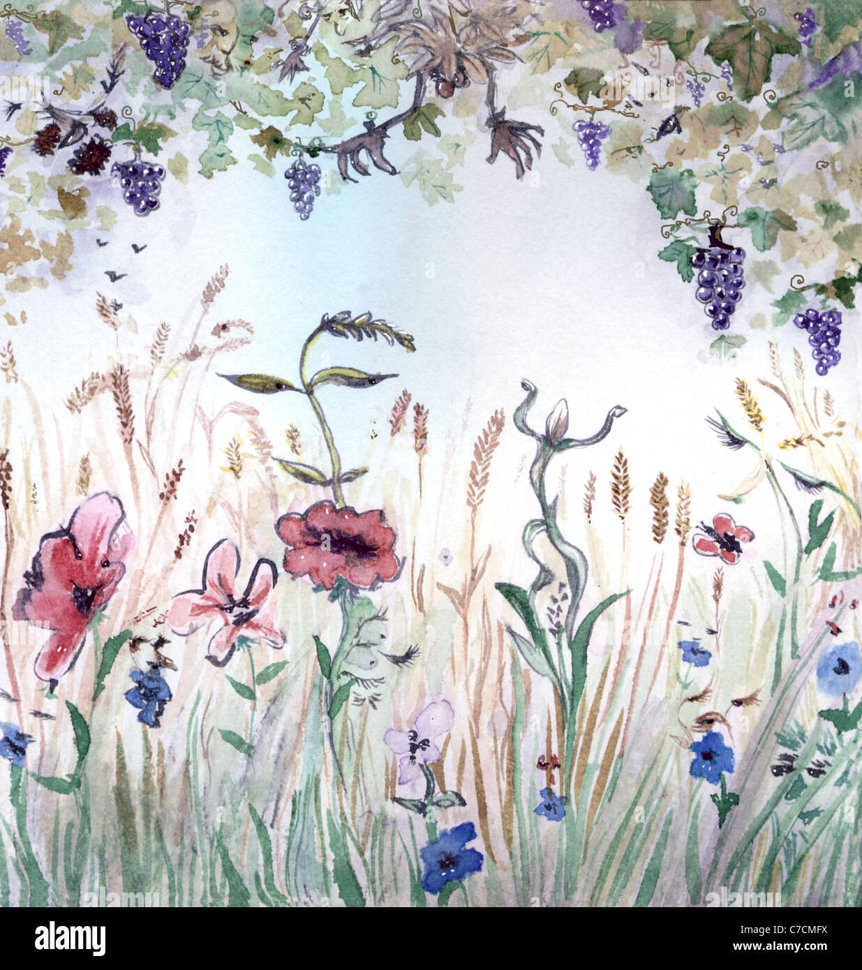 Saison d'automne, l'allégorie, illustration à l'aquarelle Photo Stock