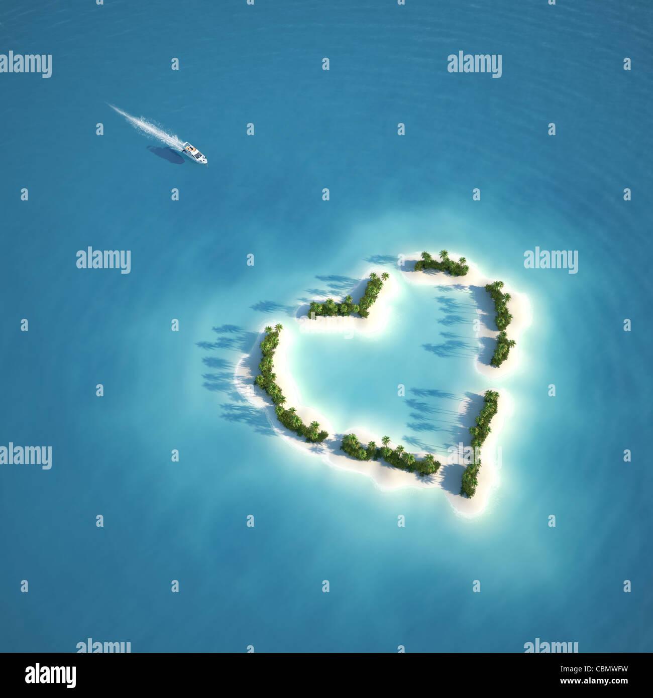 Location de la position de l'île en forme de coeur vu de l'air concept pour des vacances romantiques Photo Stock