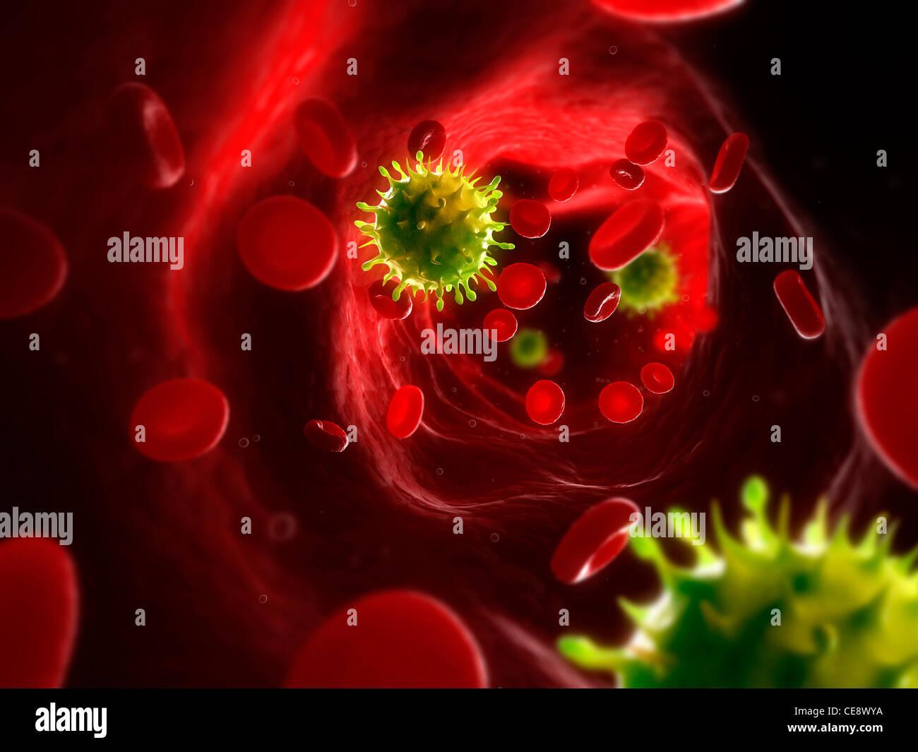Infection virale, œuvres d'ordinateur conceptuel. Les particules de virus dans le sang. Banque D'Images