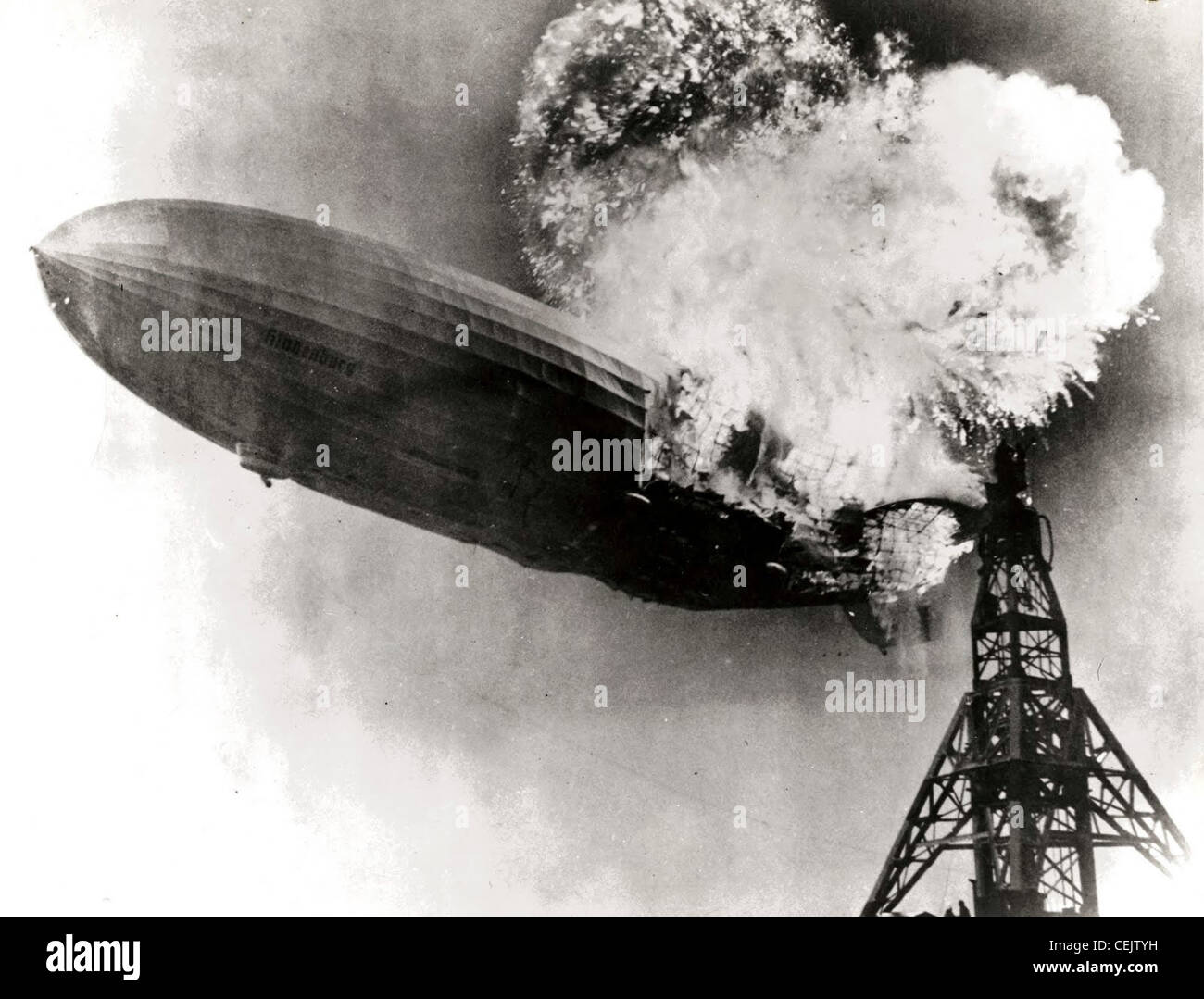 La catastrophe du Hindenburg Photo Stock