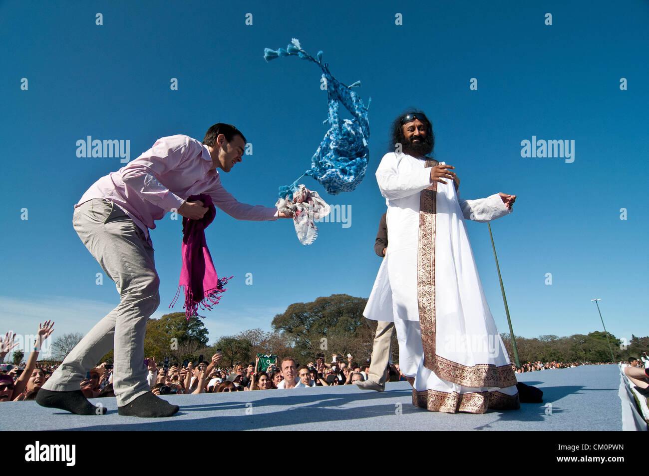 9 septembre 2012 - Buenos Aires, Argentine - guru indien Sri Sri Ravi Shankar, chef de l'ONG L'Art de Vivre, Photo Stock
