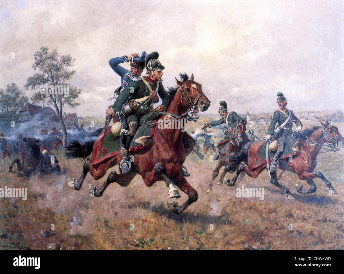 Événements, guerre franco-prussienne 1870 - 1871, l'escarmouche à Sturzelbronn, 1.8.1870, le Photo Stock