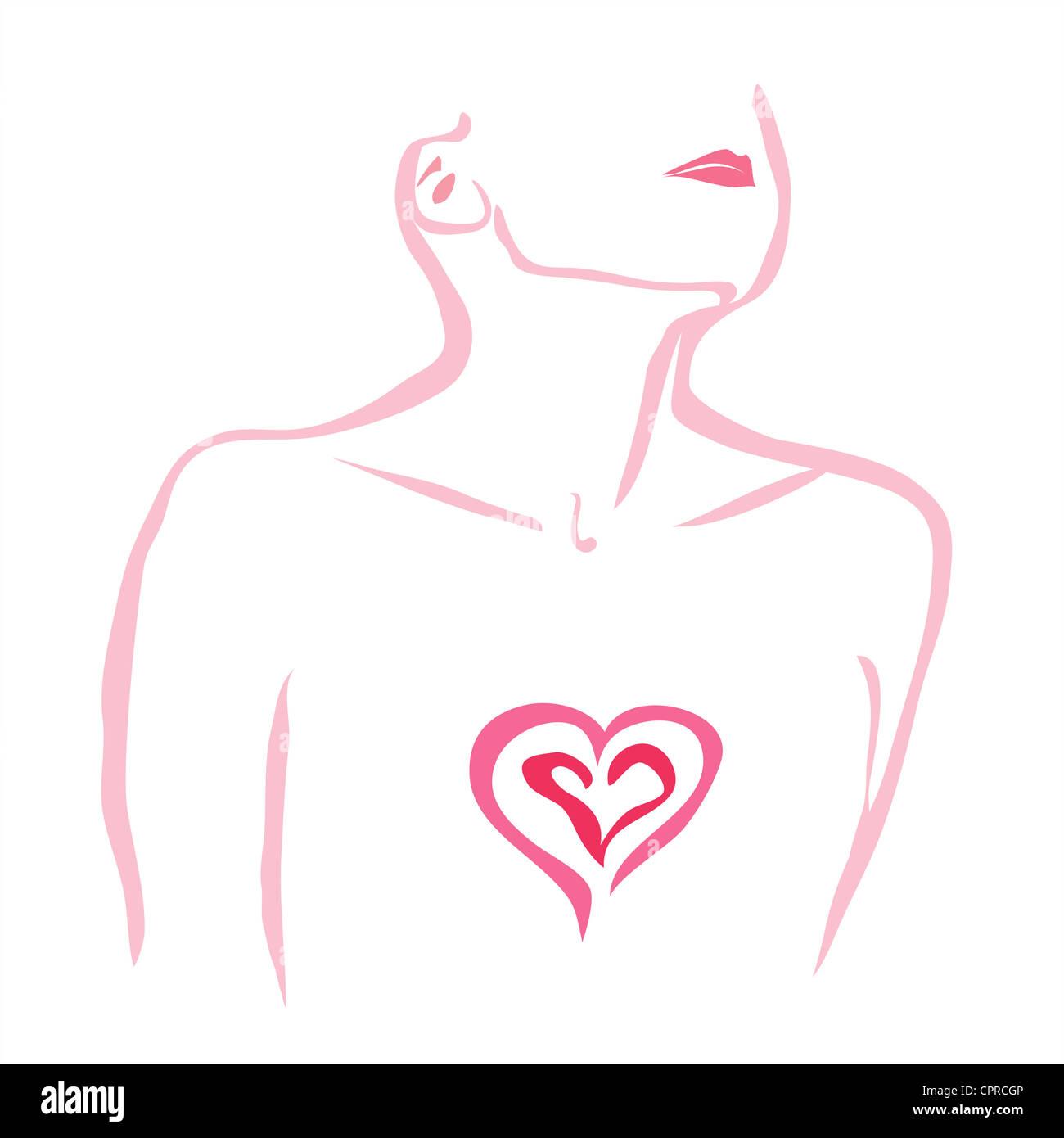 Le chagrin. Femme avec son coeur exposés. Photo Stock