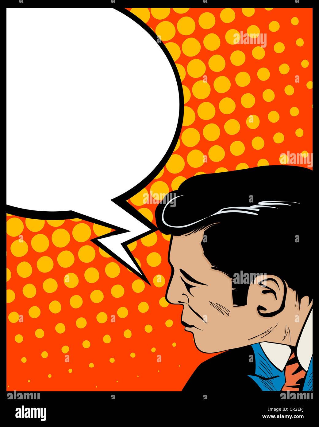 Style Pop Art graphique avec l'homme et la bulle Photo Stock