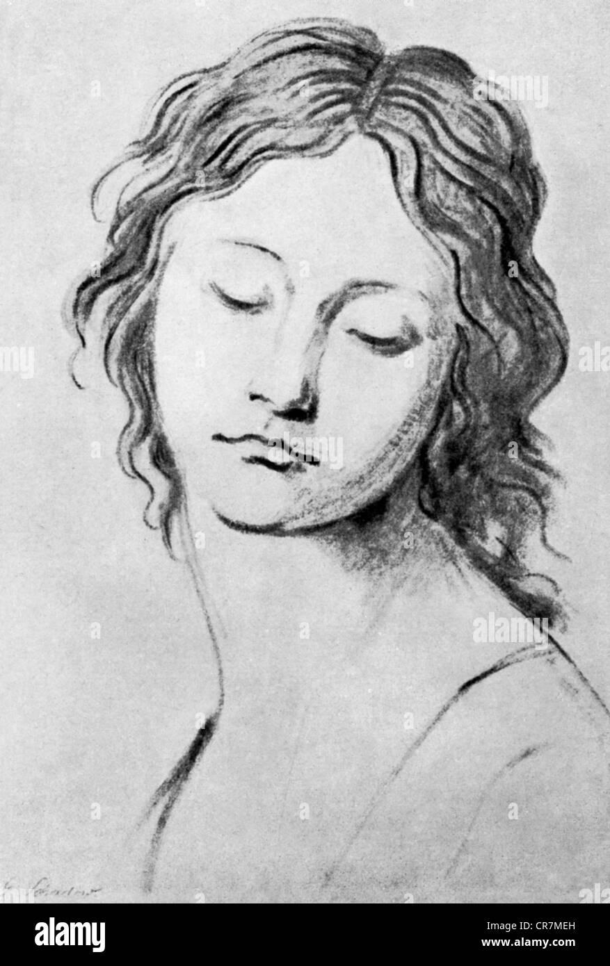 Johann Gottfried Schadow,, 20.5.1764 - 27.1.1850, sculpteur allemand et artiste graphique, travaux publics, portrait Photo Stock