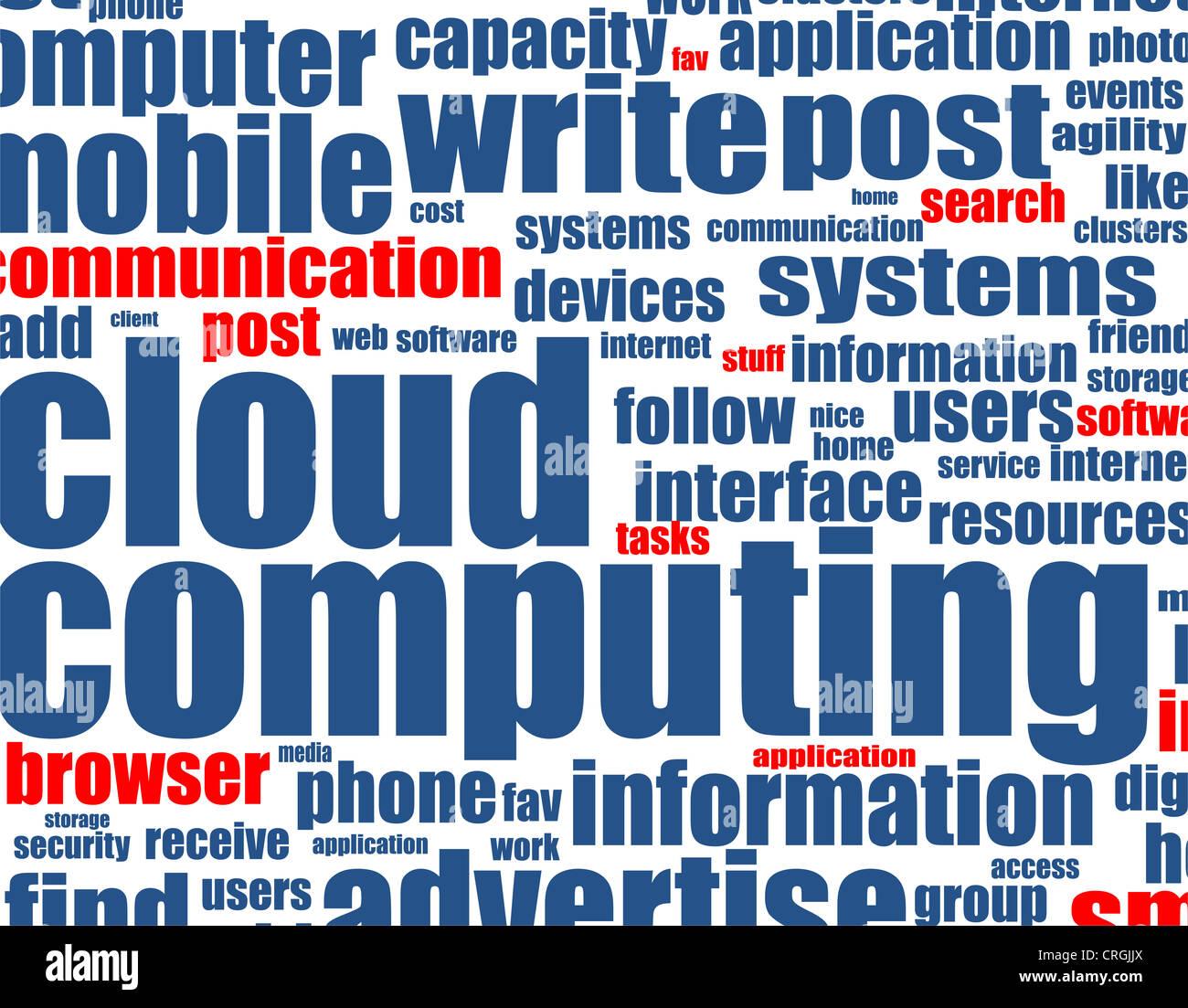 Cloud computing - mot Contexte Photo Stock