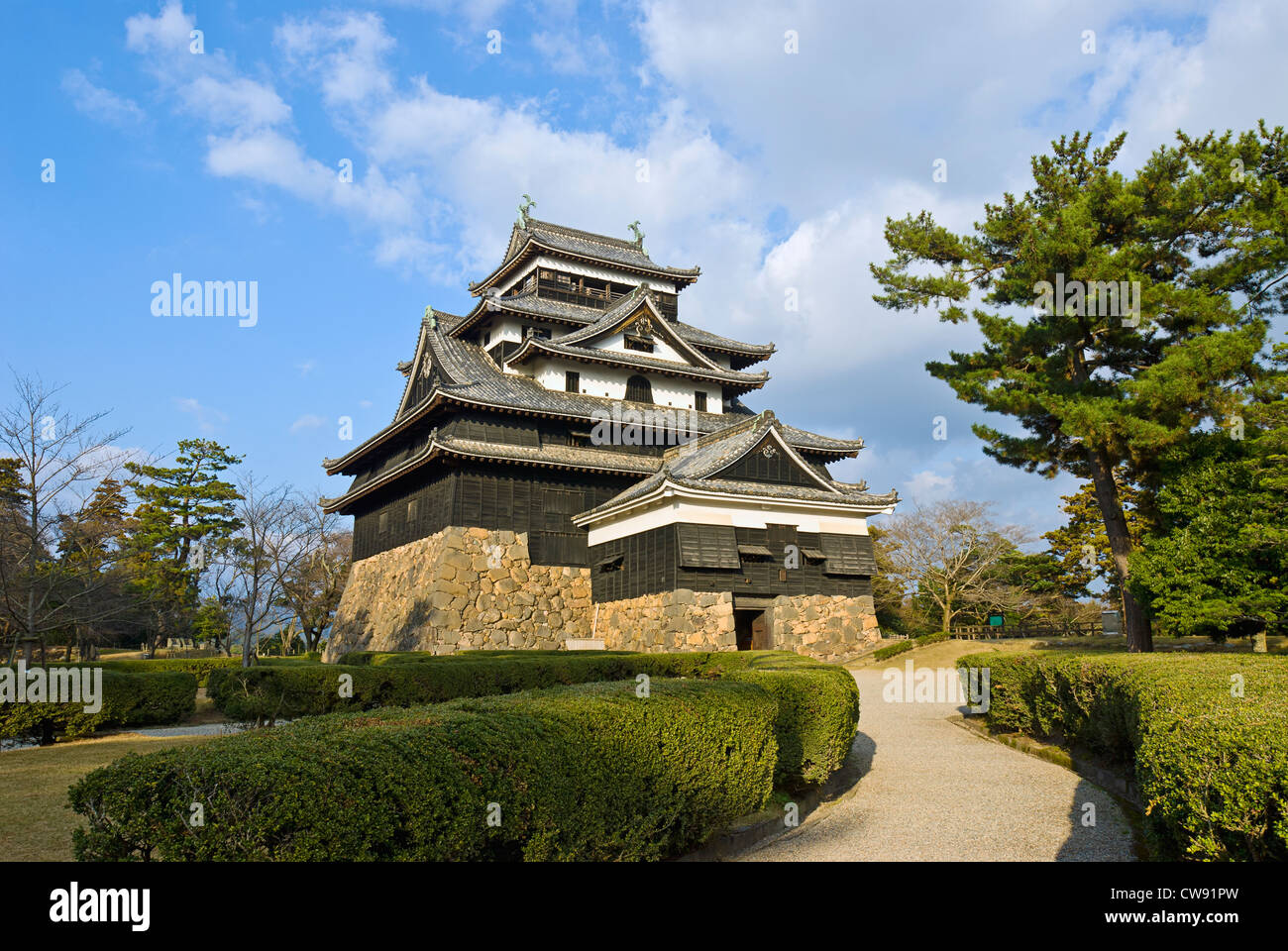 Château de Matsue, Préfecture de Shimane, au Japon. Château médiéval en bois, ch. 1622. Photo Stock