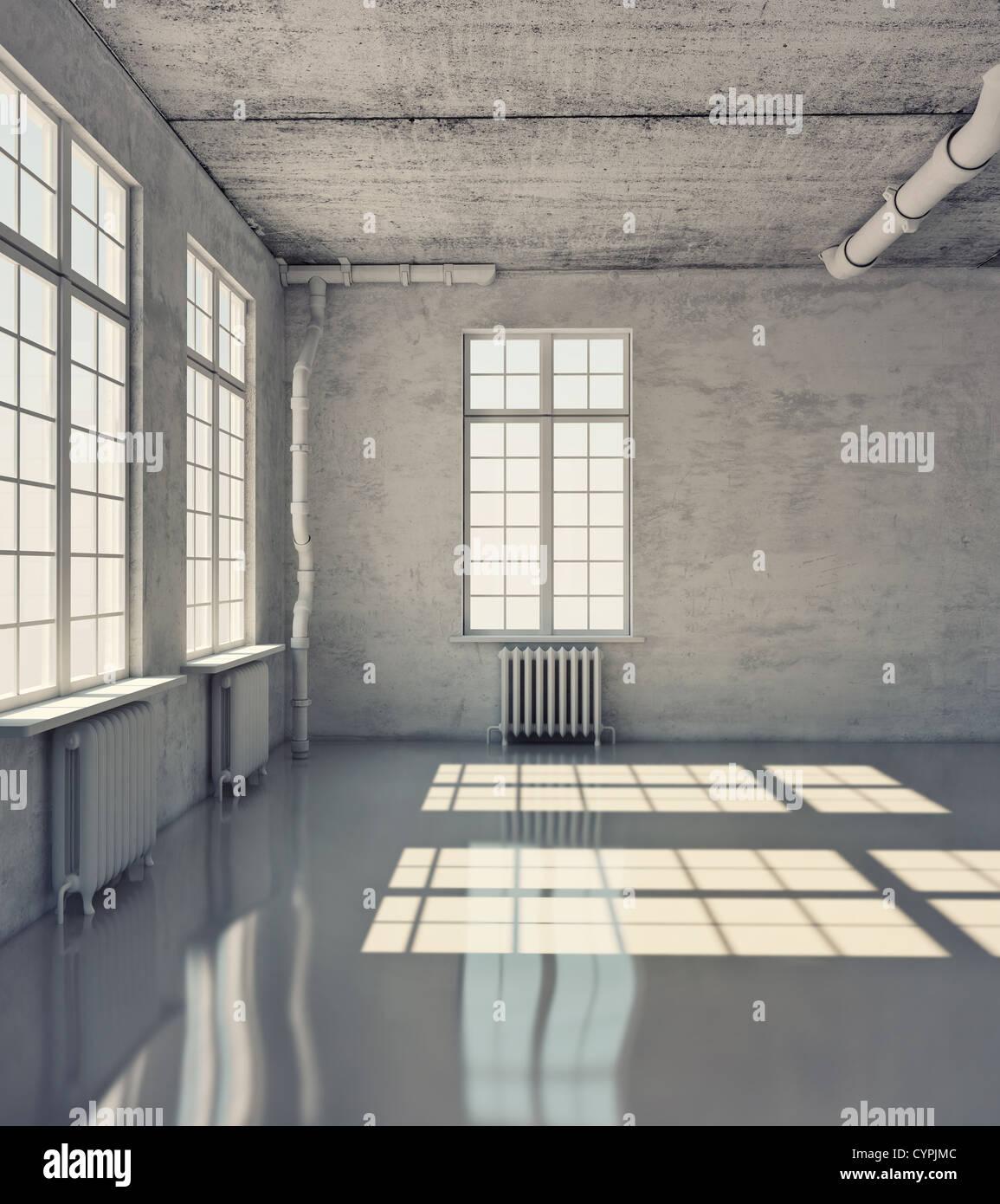Salle vide avec windows (loft concept) Photo Stock