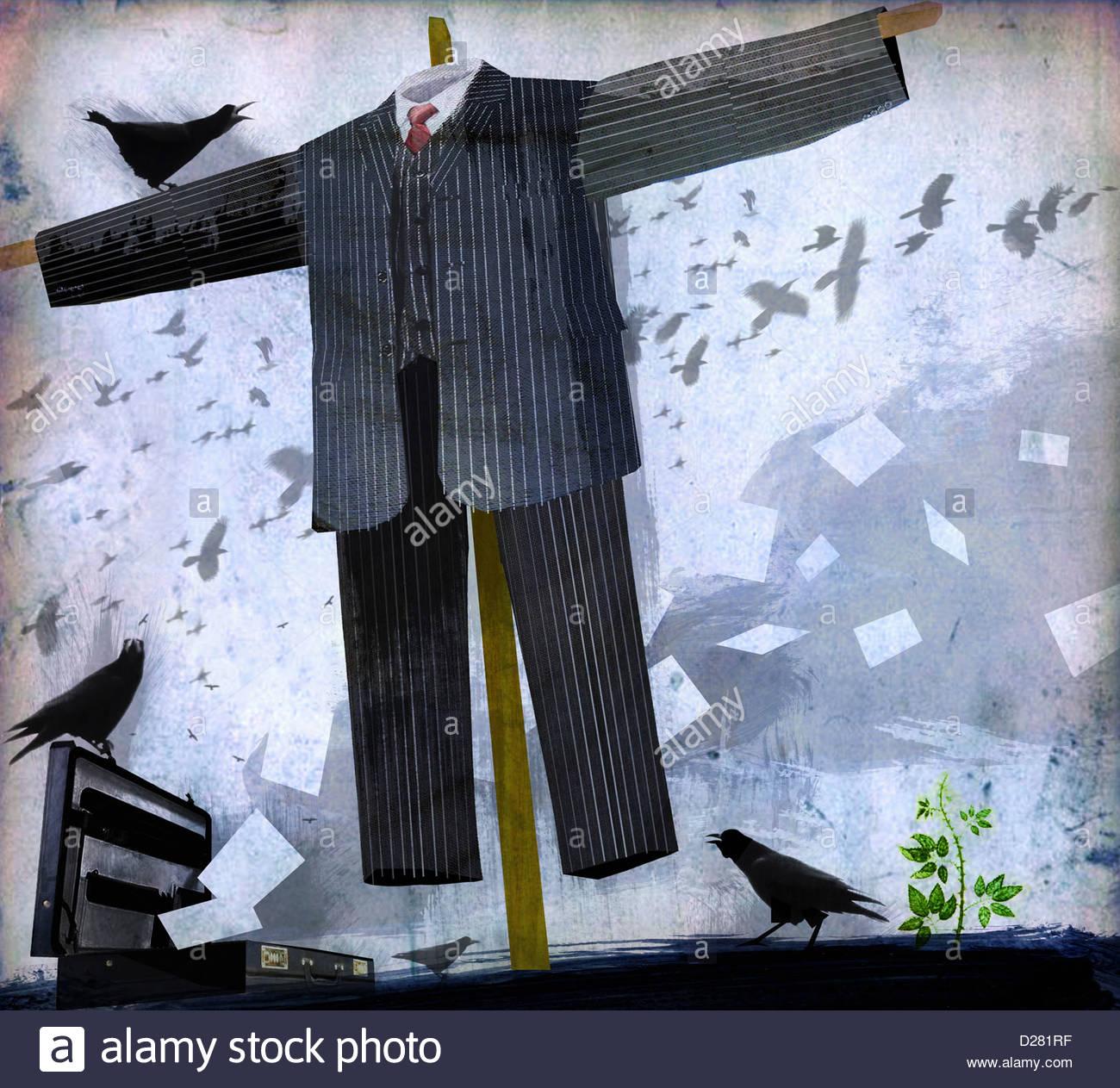 Businessman scarecrow Photo Stock