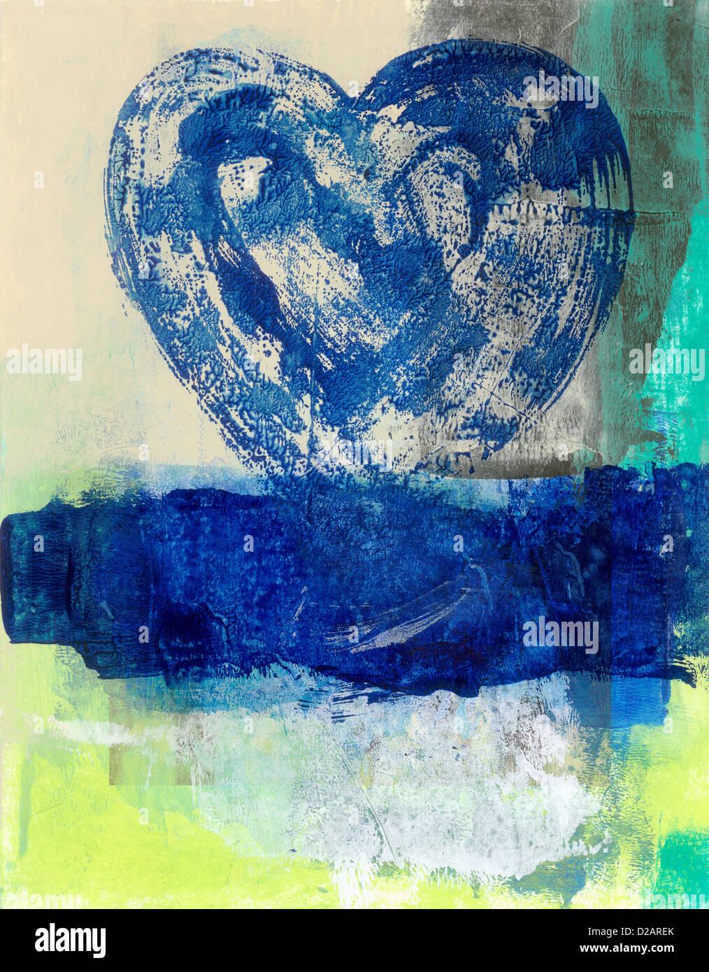 La peinture abstraite d'un coeur bleu passant d'une eau bleue. Banque D'Images