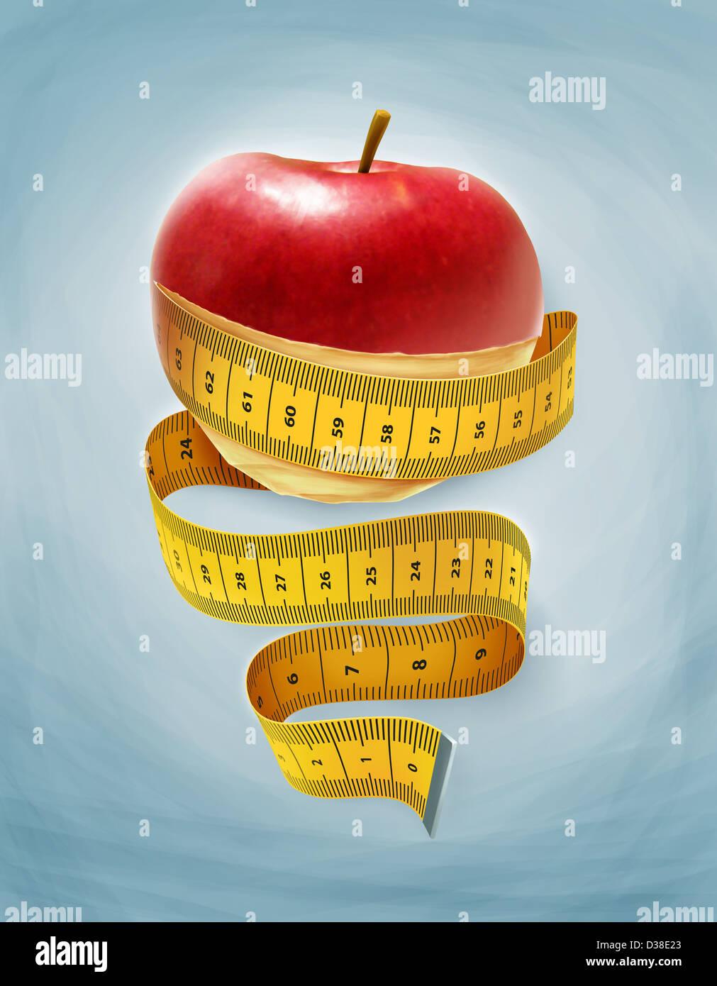 Image d'illustration d'une pomme enveloppée avec bande de mesure représentant un régime amaigrissant Photo Stock