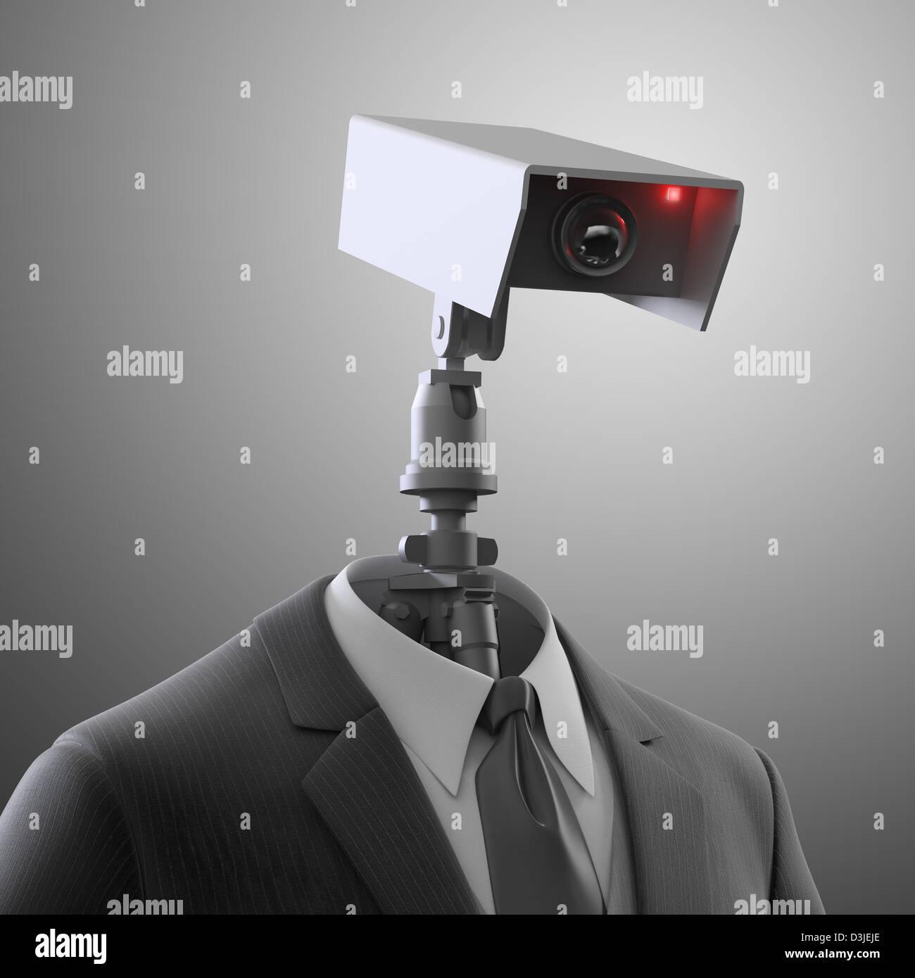 Un robot caméra de sécurité - surveillance automatisée Photo Stock