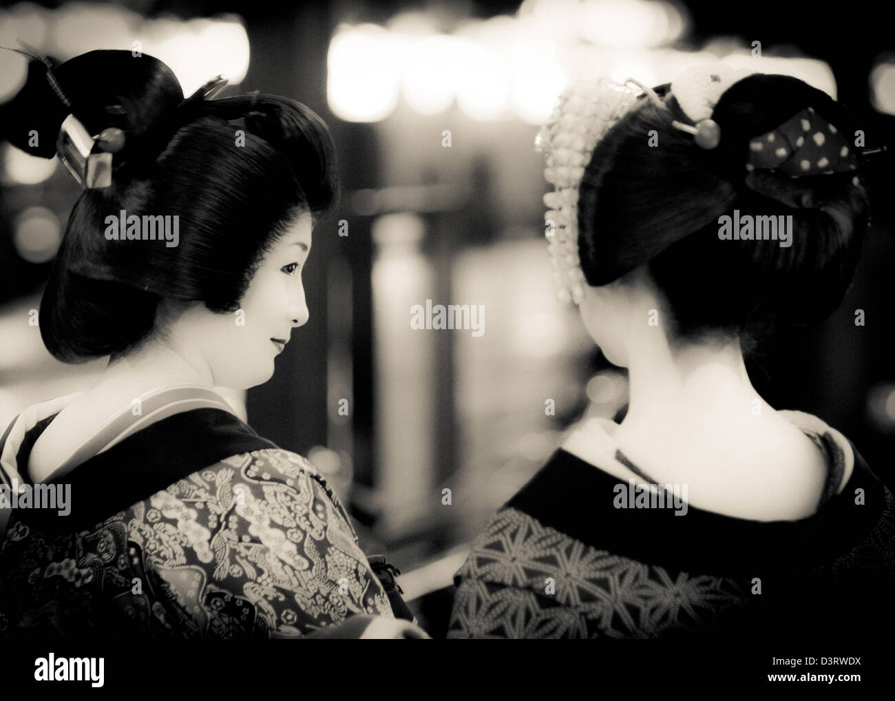 Geishas dans les rues de Kyoto, Japon Photo Stock