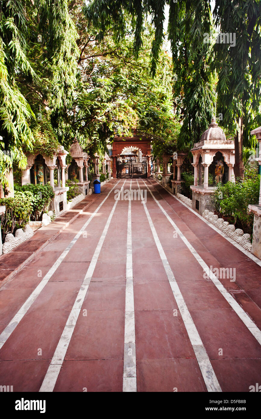 Chemin de ronde dans un parc, Rajkot, Gujarat, Inde Photo Stock