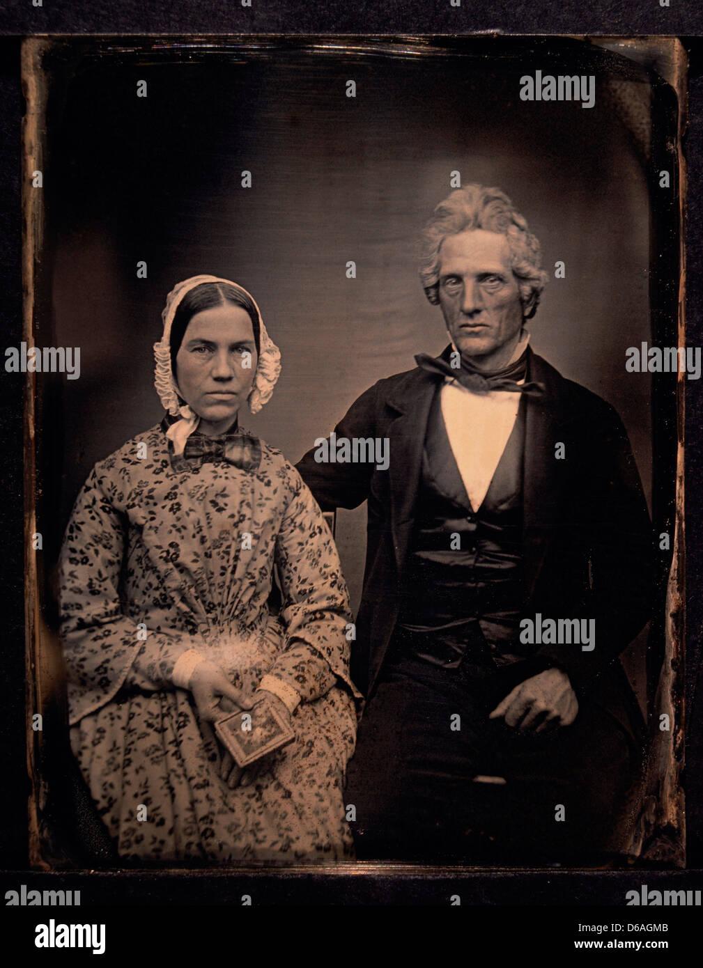 Couple Portrait, daguerréotype, vers 1850 Photo Stock