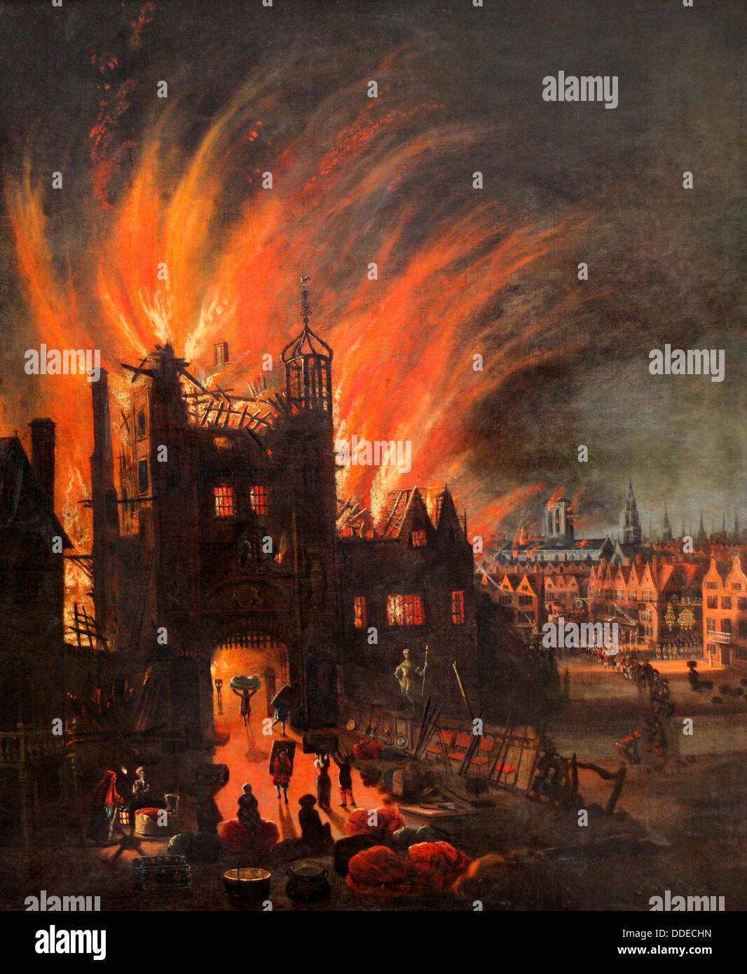 Le grand incendie de Londres, 2-5 septembre 1666 Photo Stock