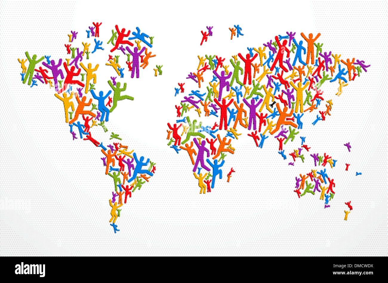 Carte du monde concept personnes diversité Photo Stock
