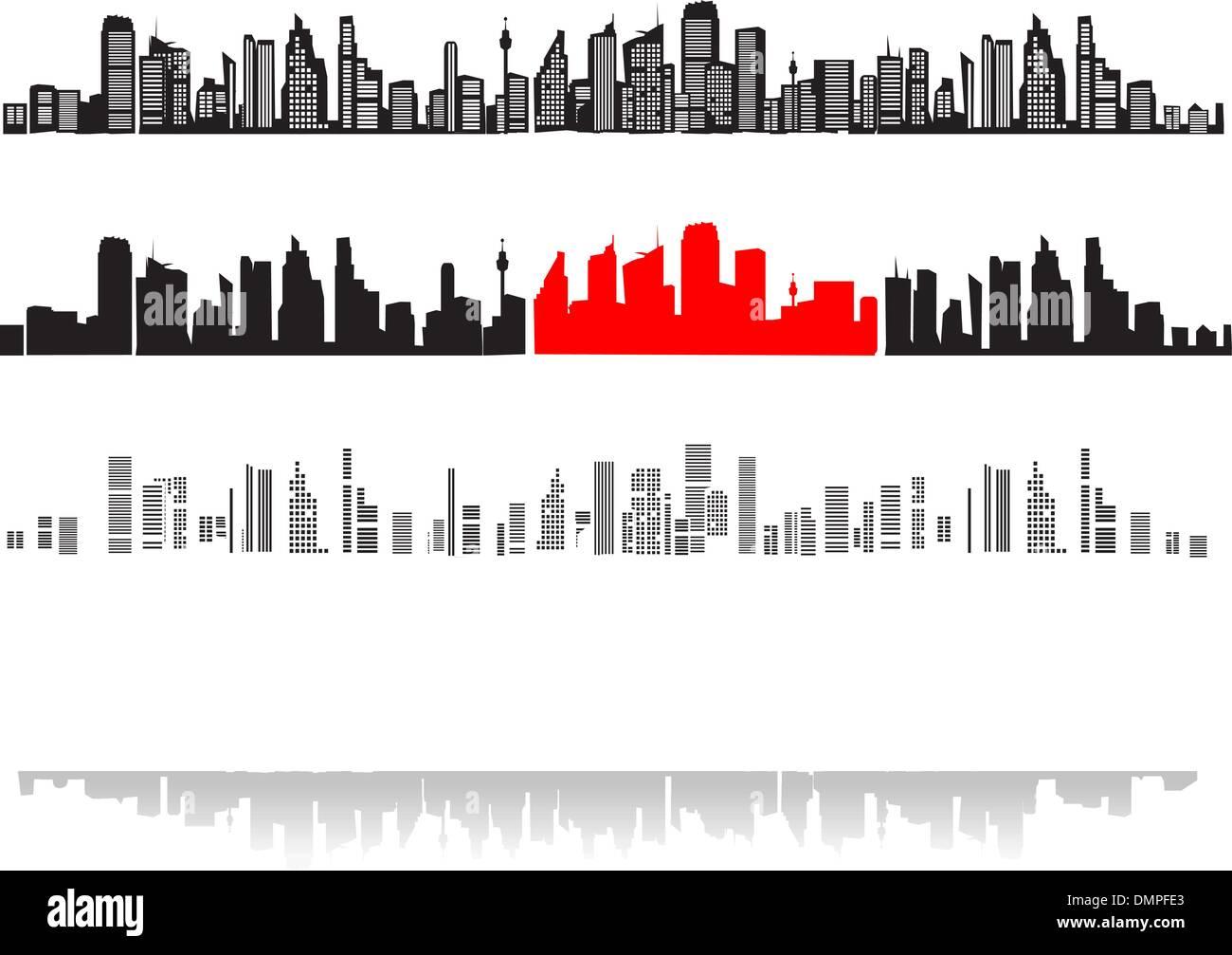 Paysage de ville, silhouettes de maisons black Photo Stock