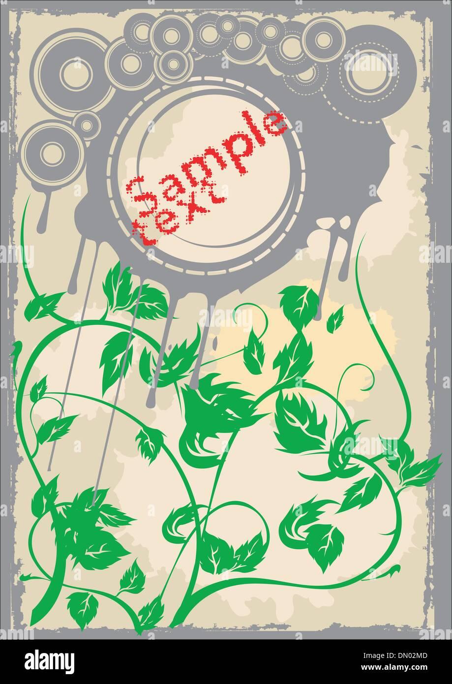 Les disques gris vert feuilles ancienne page. Flayer. Vector Illustration. Pas de mailles. Photo Stock