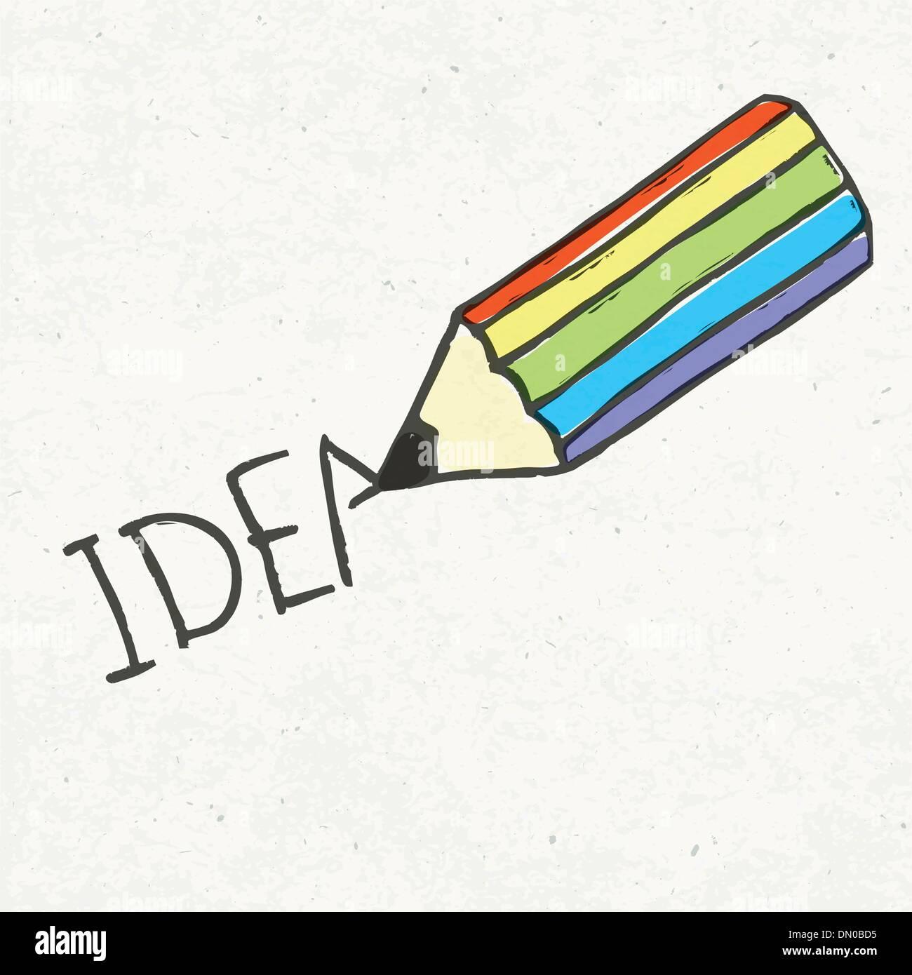 Crayon et idée mot. Illustration dessinée à la main, EPS10 Photo Stock