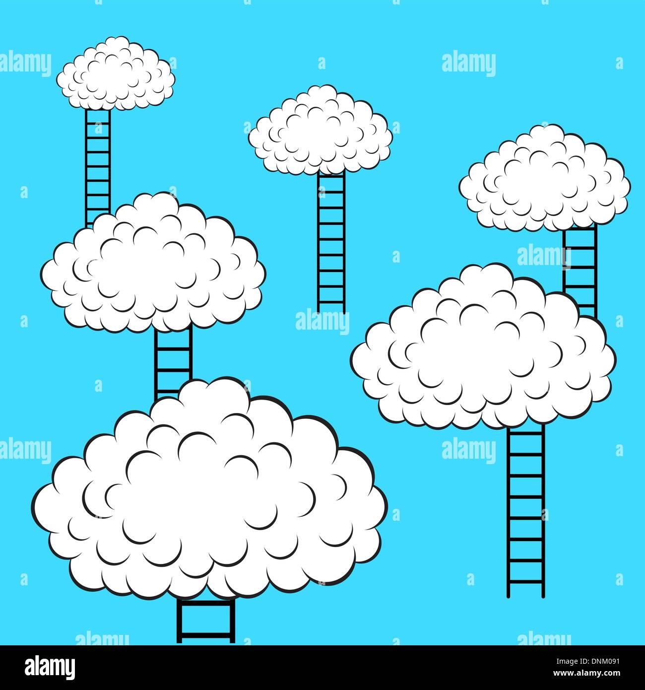 Les nuages avec des escaliers, vector illustration Photo Stock